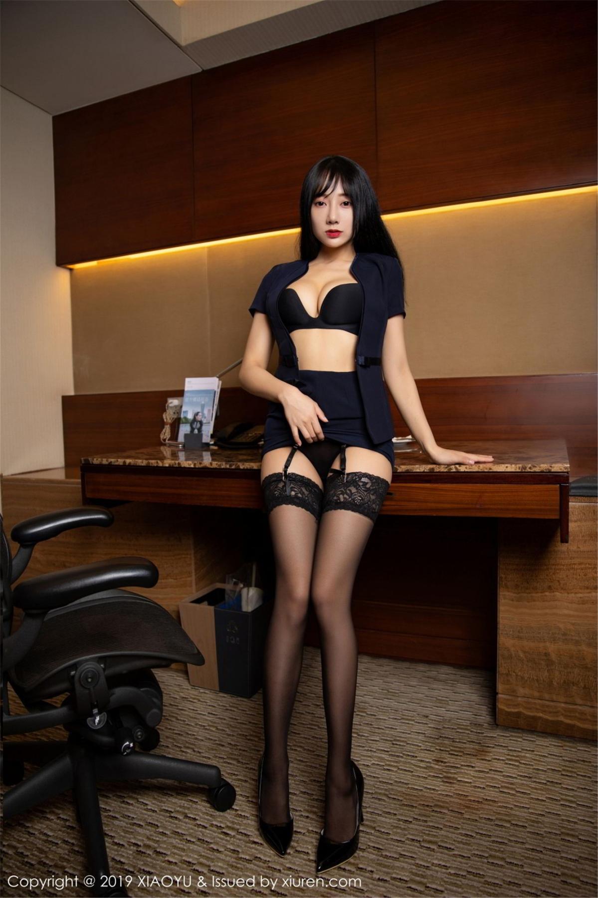 [XiaoYu] Vol.068 He Jia Ying 37P, Black Silk, He Jia Ying, Uniform, XiaoYu