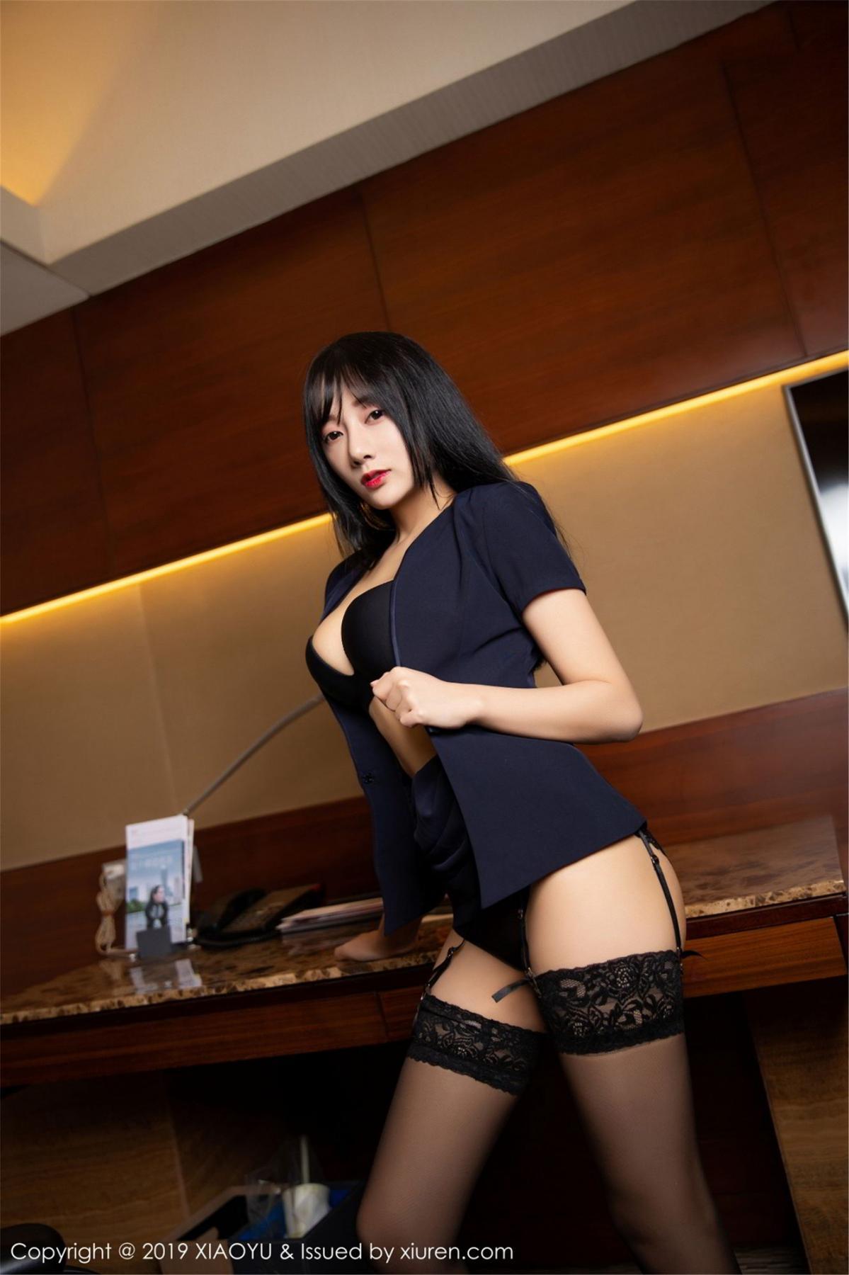 [XiaoYu] Vol.068 He Jia Ying 40P, Black Silk, He Jia Ying, Uniform, XiaoYu