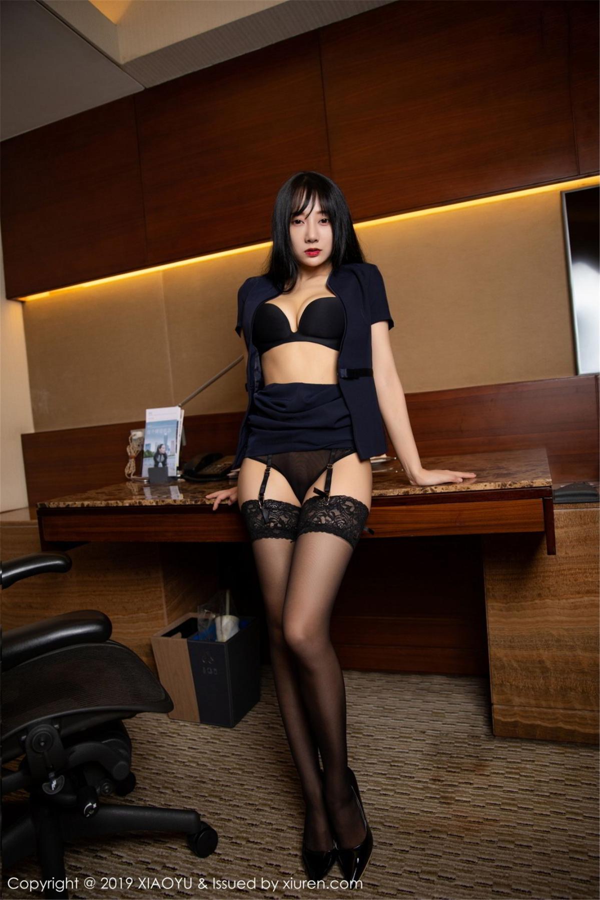 [XiaoYu] Vol.068 He Jia Ying 41P, Black Silk, He Jia Ying, Uniform, XiaoYu