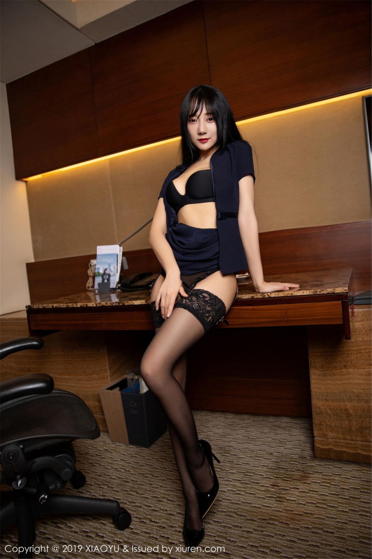 [XiaoYu] Vol.068 He Jia Ying 42P, Black Silk, He Jia Ying, Uniform, XiaoYu