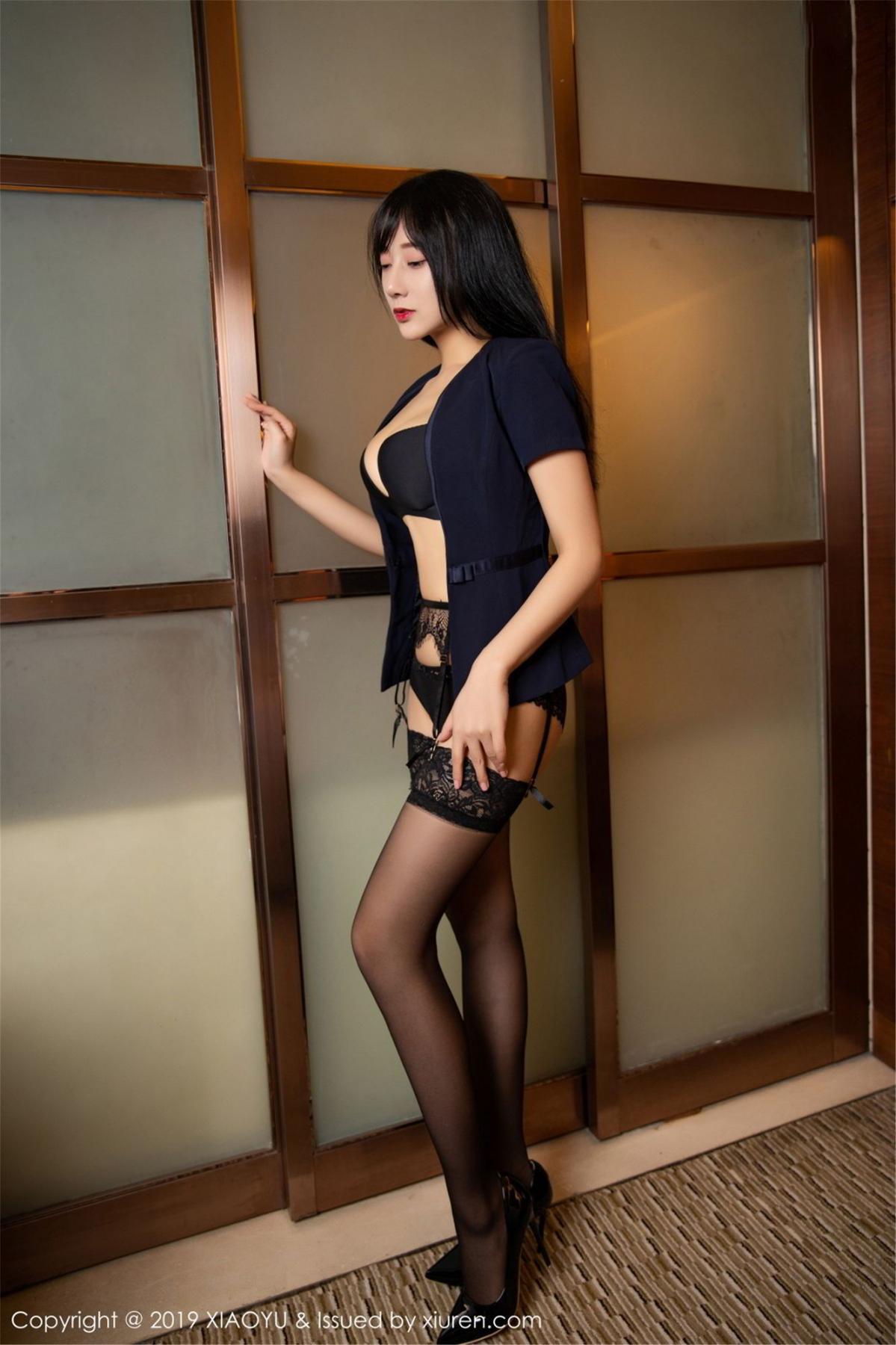 [XiaoYu] Vol.068 He Jia Ying 43P, Black Silk, He Jia Ying, Uniform, XiaoYu