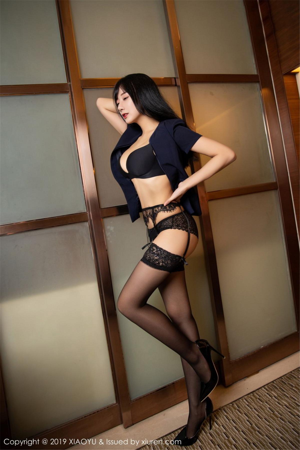 [XiaoYu] Vol.068 He Jia Ying 44P, Black Silk, He Jia Ying, Uniform, XiaoYu