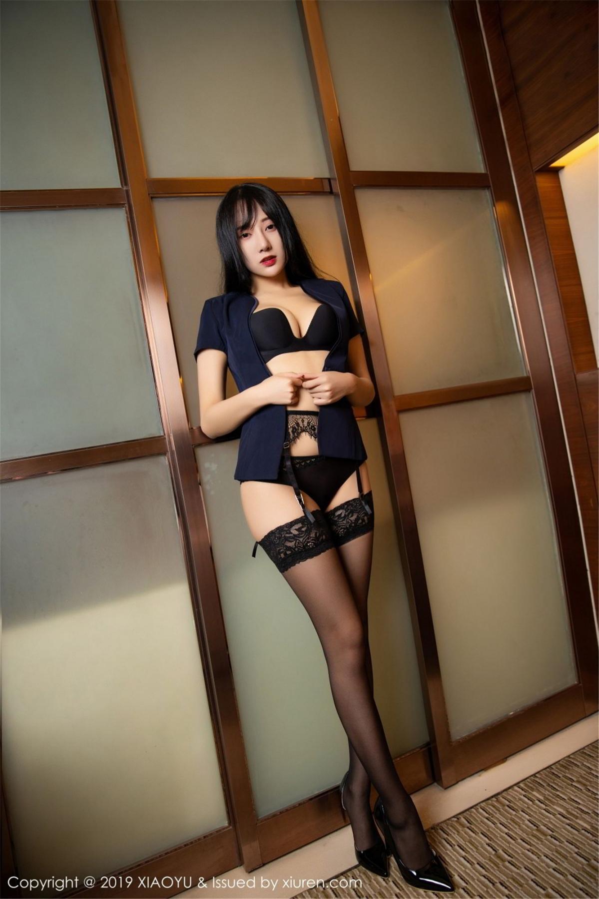 [XiaoYu] Vol.068 He Jia Ying 45P, Black Silk, He Jia Ying, Uniform, XiaoYu