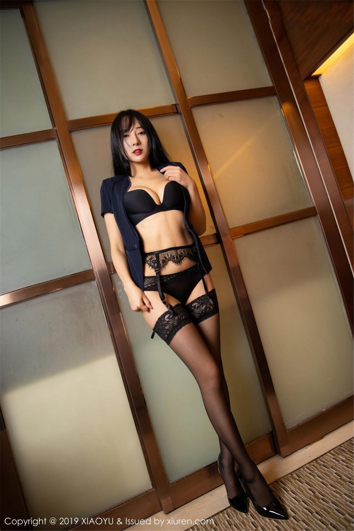 [XiaoYu] Vol.068 He Jia Ying 46P, Black Silk, He Jia Ying, Uniform, XiaoYu