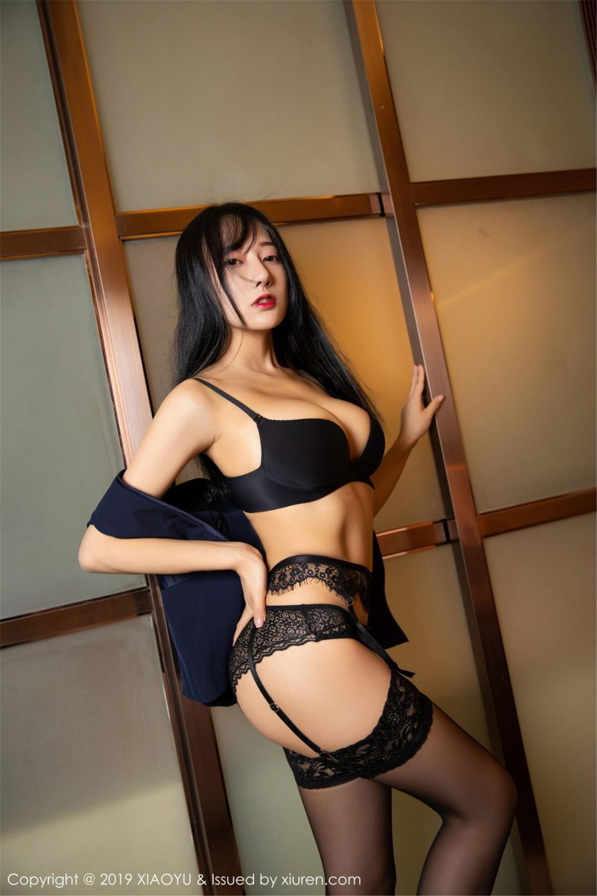 [XiaoYu] Vol.068 He Jia Ying 47P, Black Silk, He Jia Ying, Uniform, XiaoYu