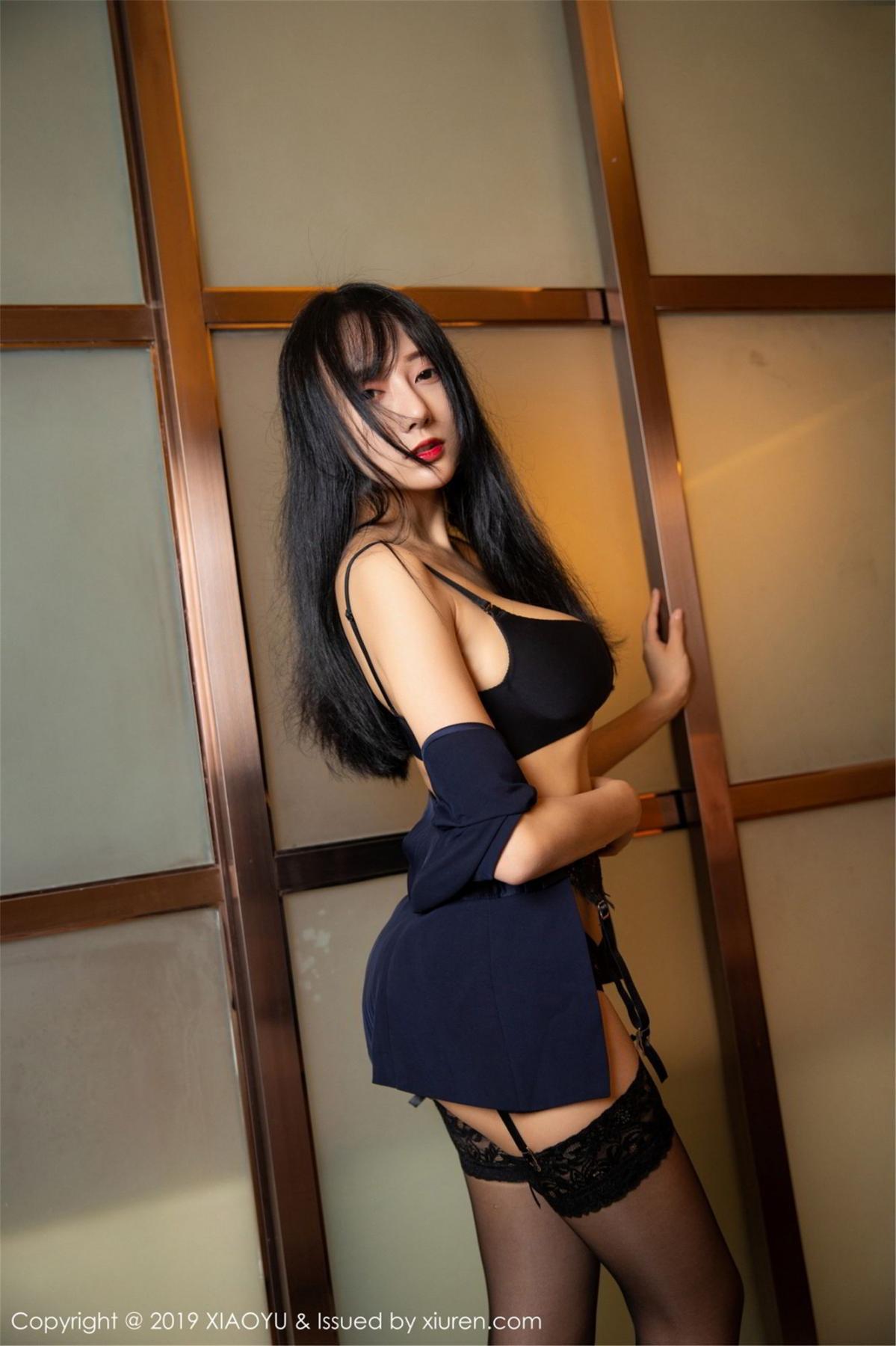 [XiaoYu] Vol.068 He Jia Ying 48P, Black Silk, He Jia Ying, Uniform, XiaoYu