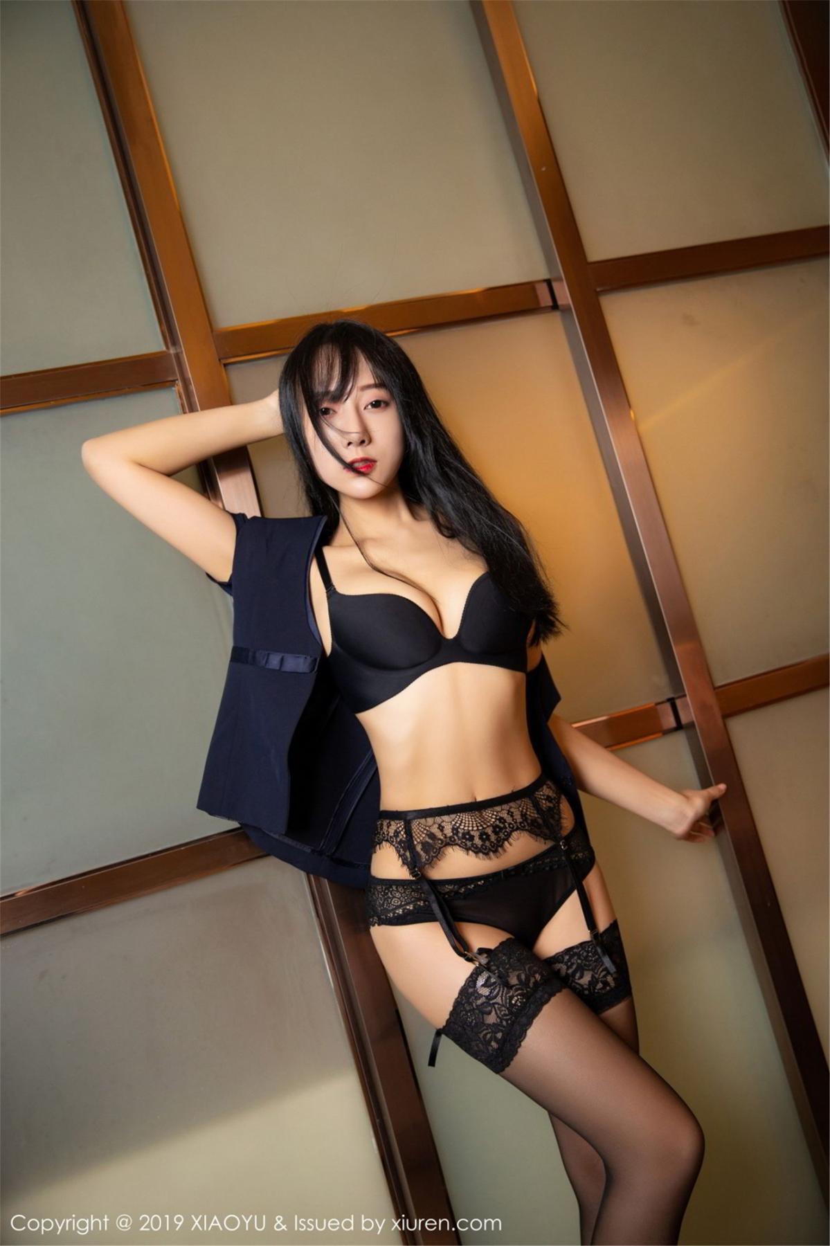 [XiaoYu] Vol.068 He Jia Ying 49P, Black Silk, He Jia Ying, Uniform, XiaoYu