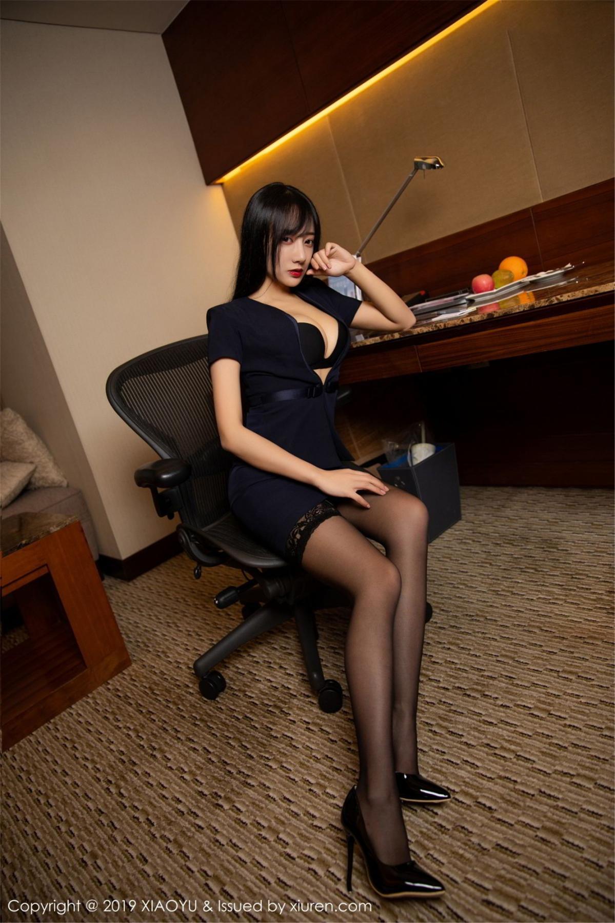 [XiaoYu] Vol.068 He Jia Ying 4P, Black Silk, He Jia Ying, Uniform, XiaoYu
