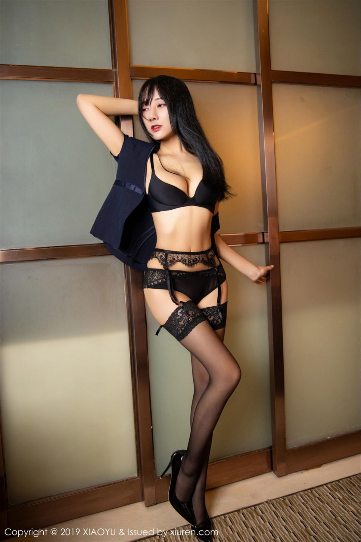 [XiaoYu] Vol.068 He Jia Ying 50P, Black Silk, He Jia Ying, Uniform, XiaoYu