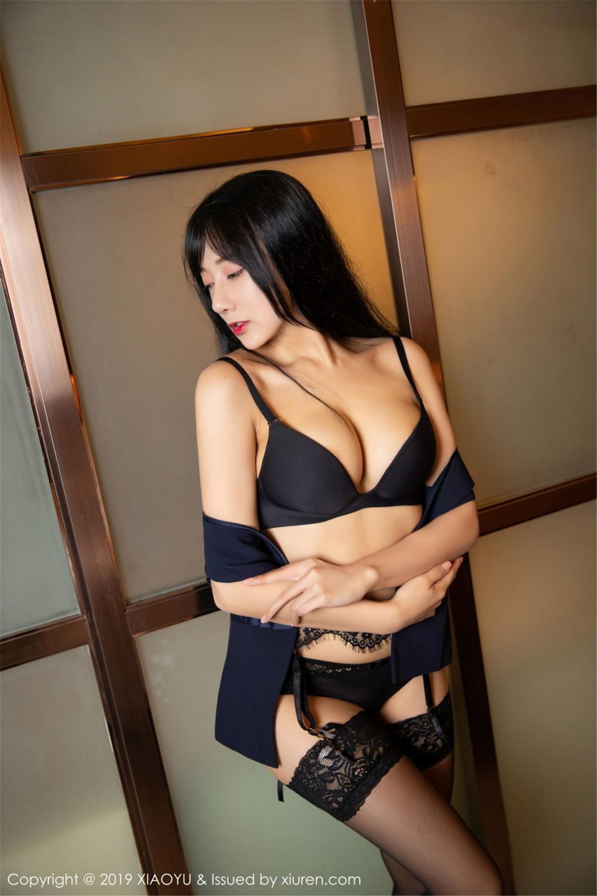 [XiaoYu] Vol.068 He Jia Ying 52P, Black Silk, He Jia Ying, Uniform, XiaoYu