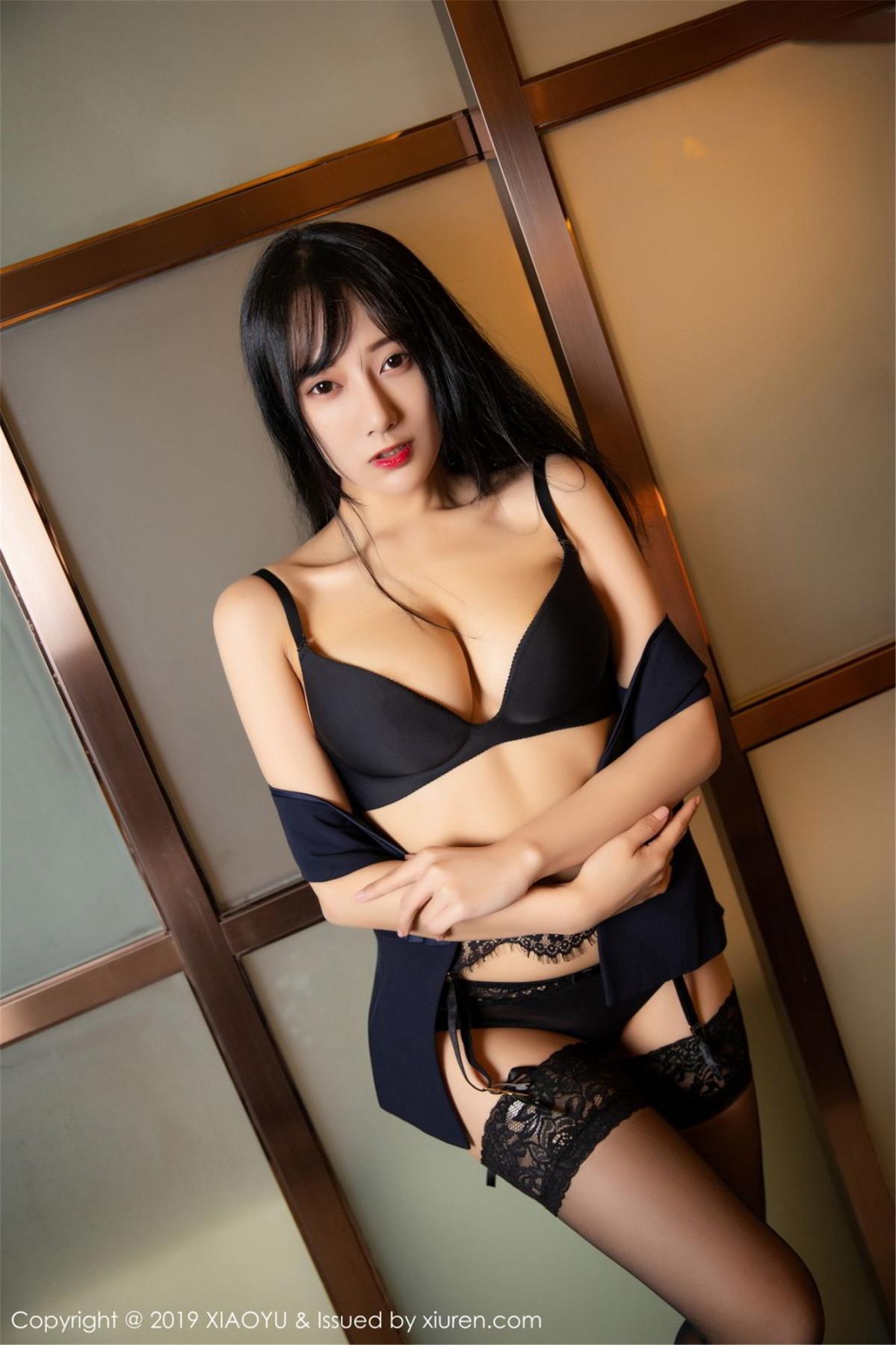 [XiaoYu] Vol.068 He Jia Ying 53P, Black Silk, He Jia Ying, Uniform, XiaoYu