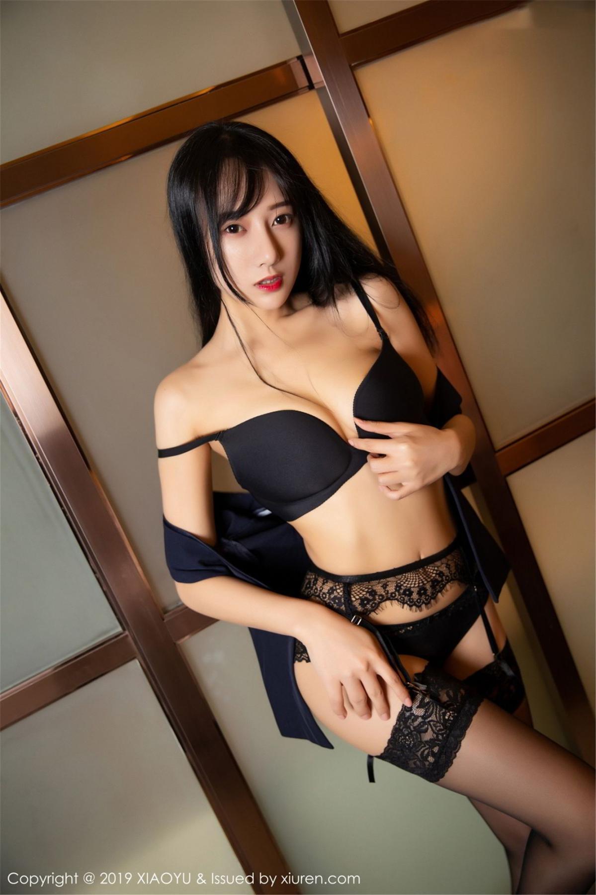 [XiaoYu] Vol.068 He Jia Ying 54P, Black Silk, He Jia Ying, Uniform, XiaoYu