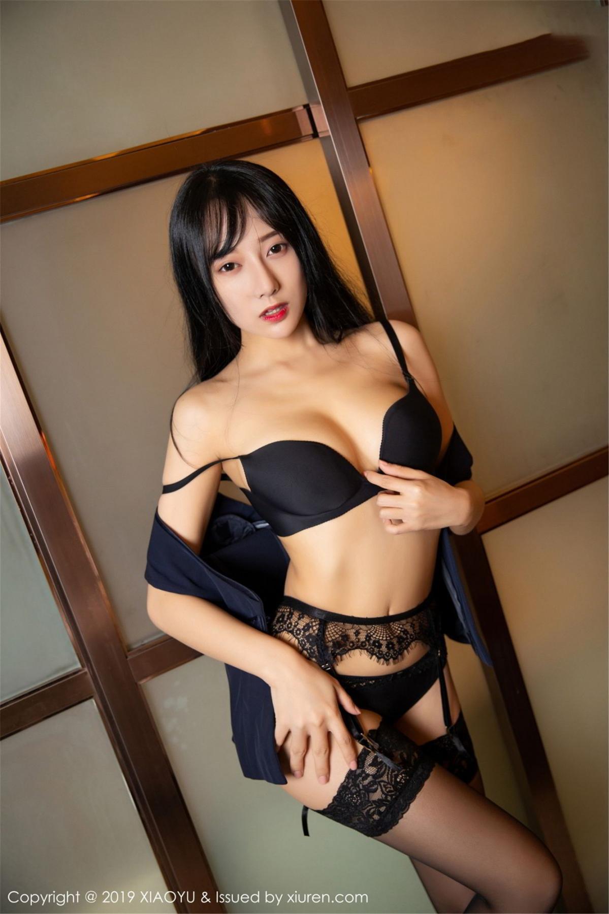 [XiaoYu] Vol.068 He Jia Ying 55P, Black Silk, He Jia Ying, Uniform, XiaoYu
