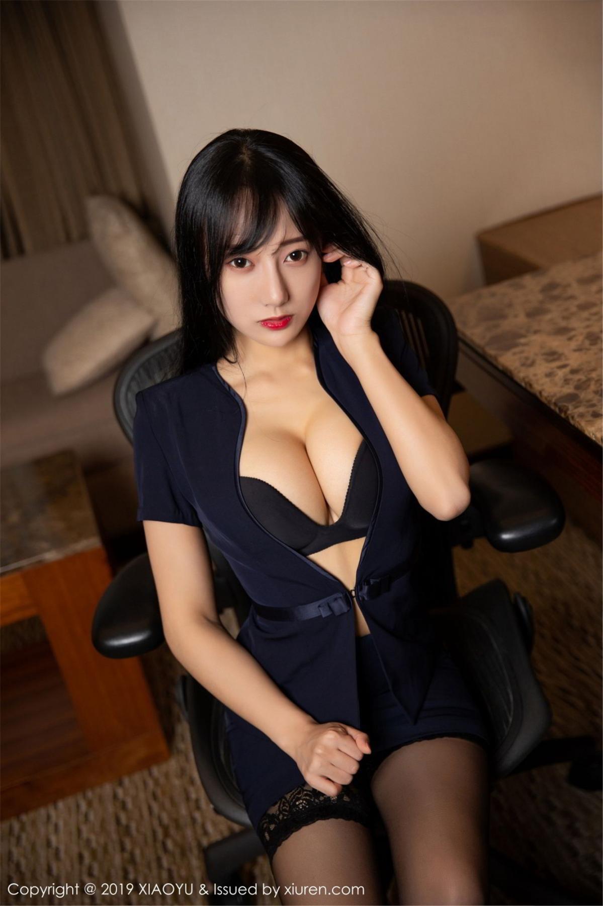 [XiaoYu] Vol.068 He Jia Ying 5P, Black Silk, He Jia Ying, Uniform, XiaoYu