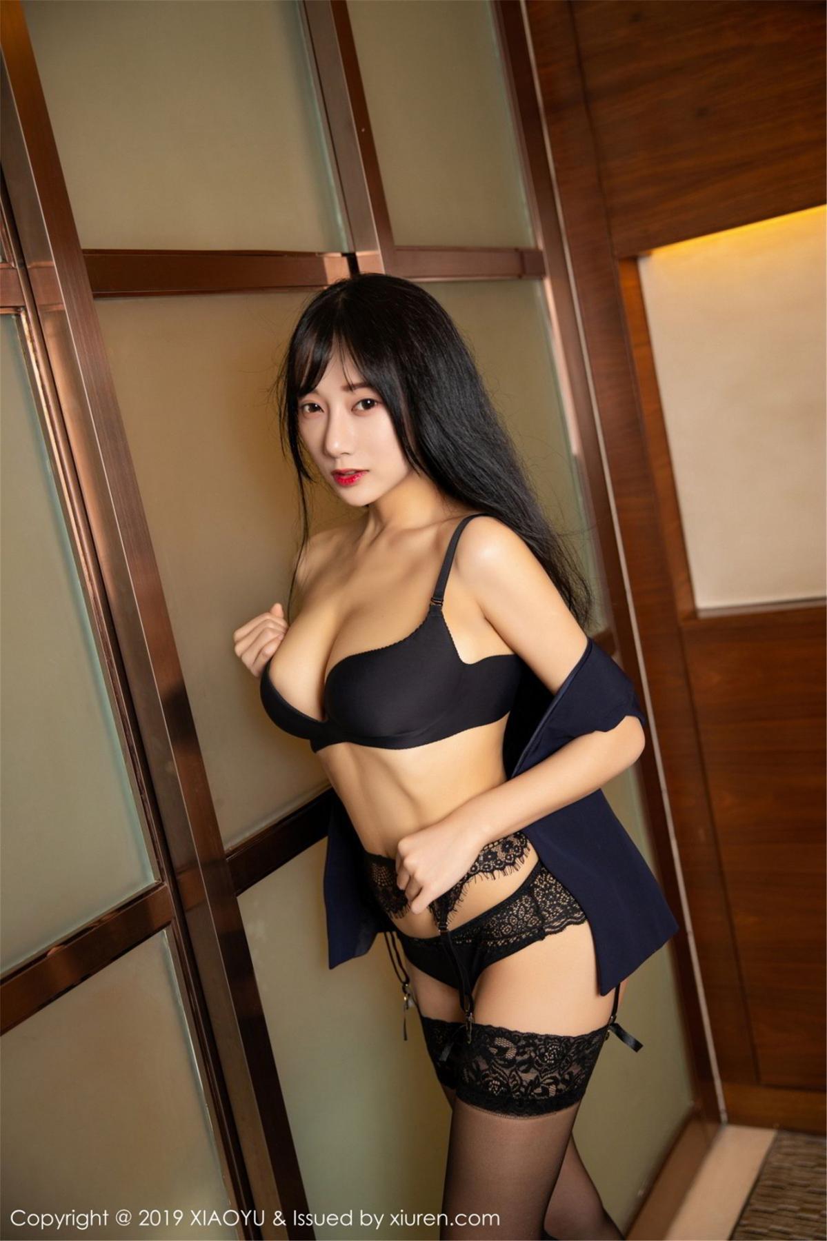[XiaoYu] Vol.068 He Jia Ying 61P, Black Silk, He Jia Ying, Uniform, XiaoYu