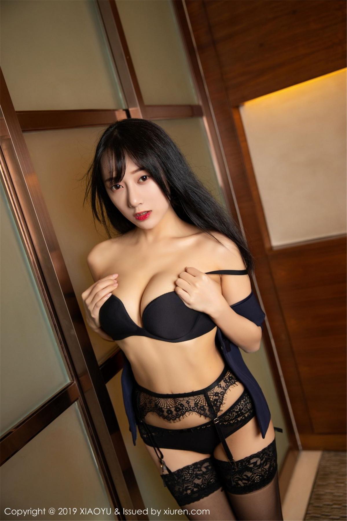 [XiaoYu] Vol.068 He Jia Ying 64P, Black Silk, He Jia Ying, Uniform, XiaoYu
