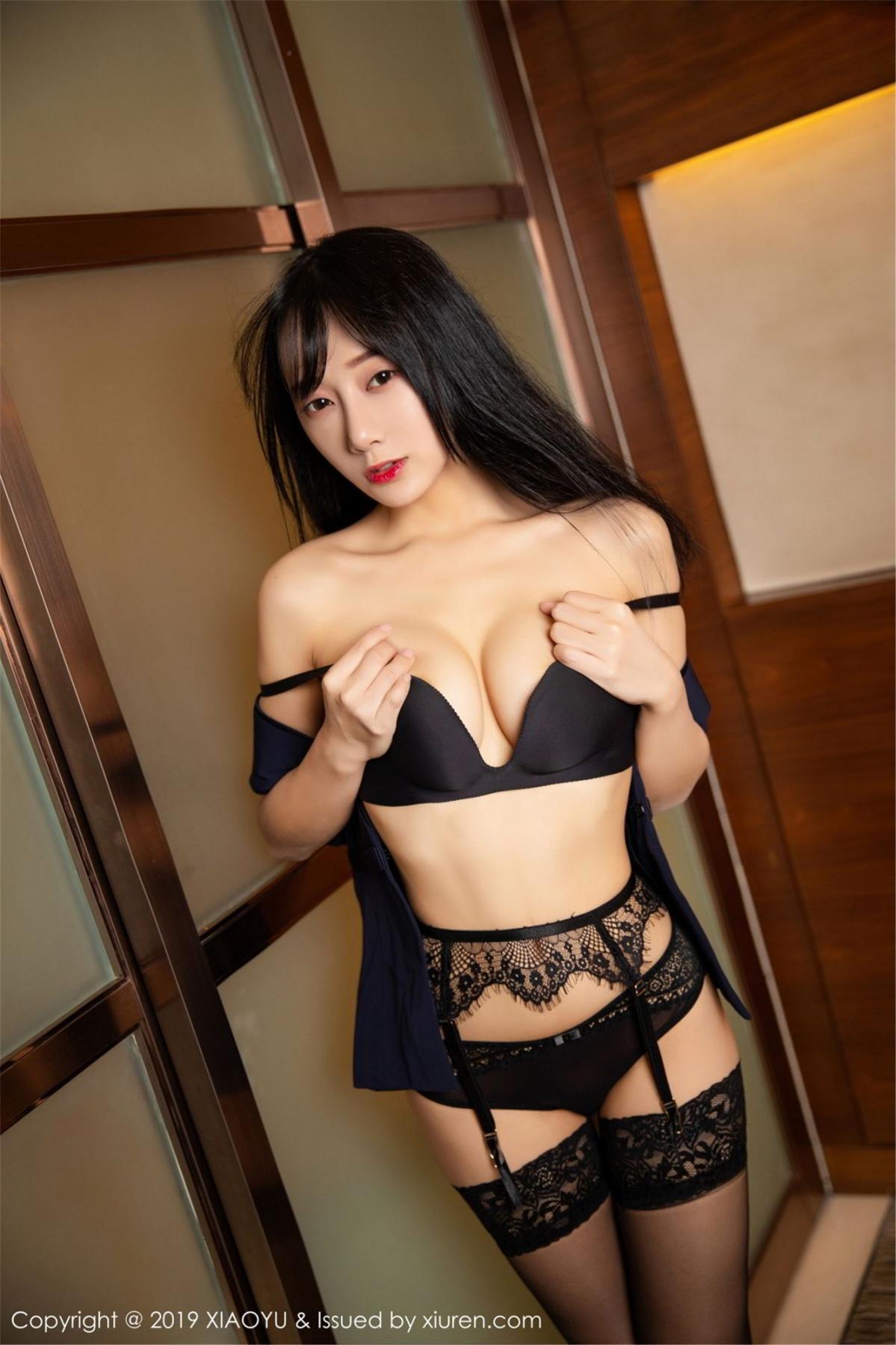 [XiaoYu] Vol.068 He Jia Ying 65P, Black Silk, He Jia Ying, Uniform, XiaoYu