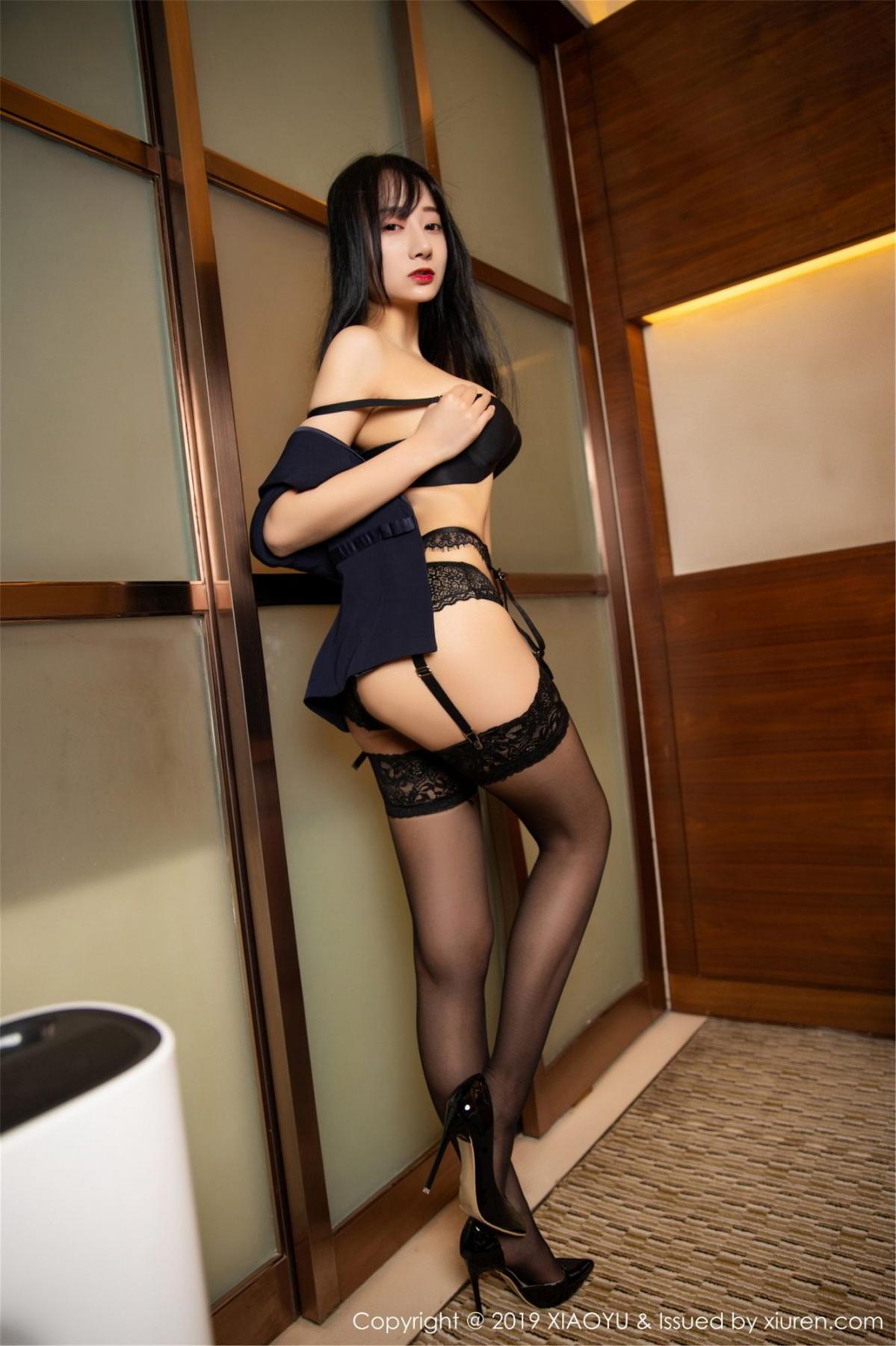 [XiaoYu] Vol.068 He Jia Ying 66P, Black Silk, He Jia Ying, Uniform, XiaoYu