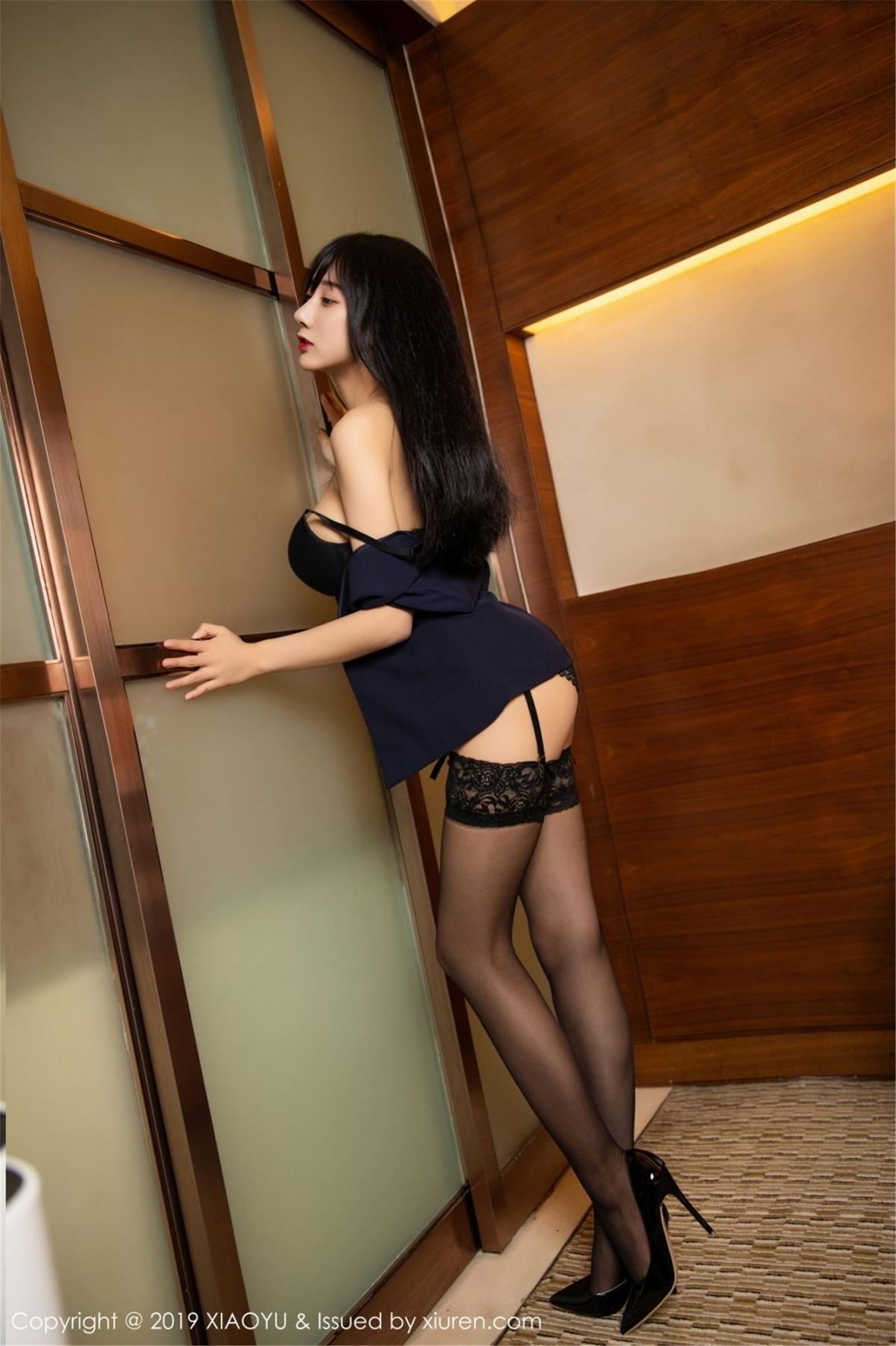 [XiaoYu] Vol.068 He Jia Ying 69P, Black Silk, He Jia Ying, Uniform, XiaoYu