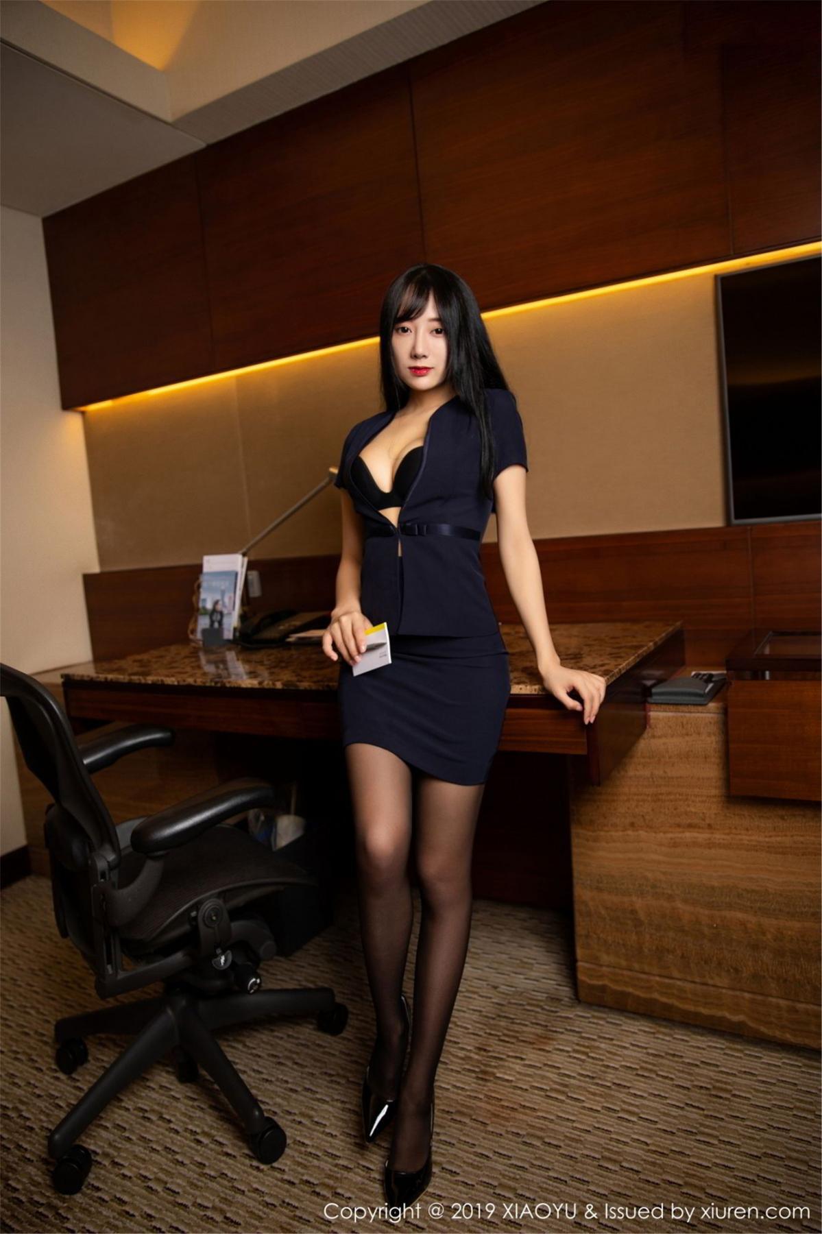 [XiaoYu] Vol.068 He Jia Ying 7P, Black Silk, He Jia Ying, Uniform, XiaoYu