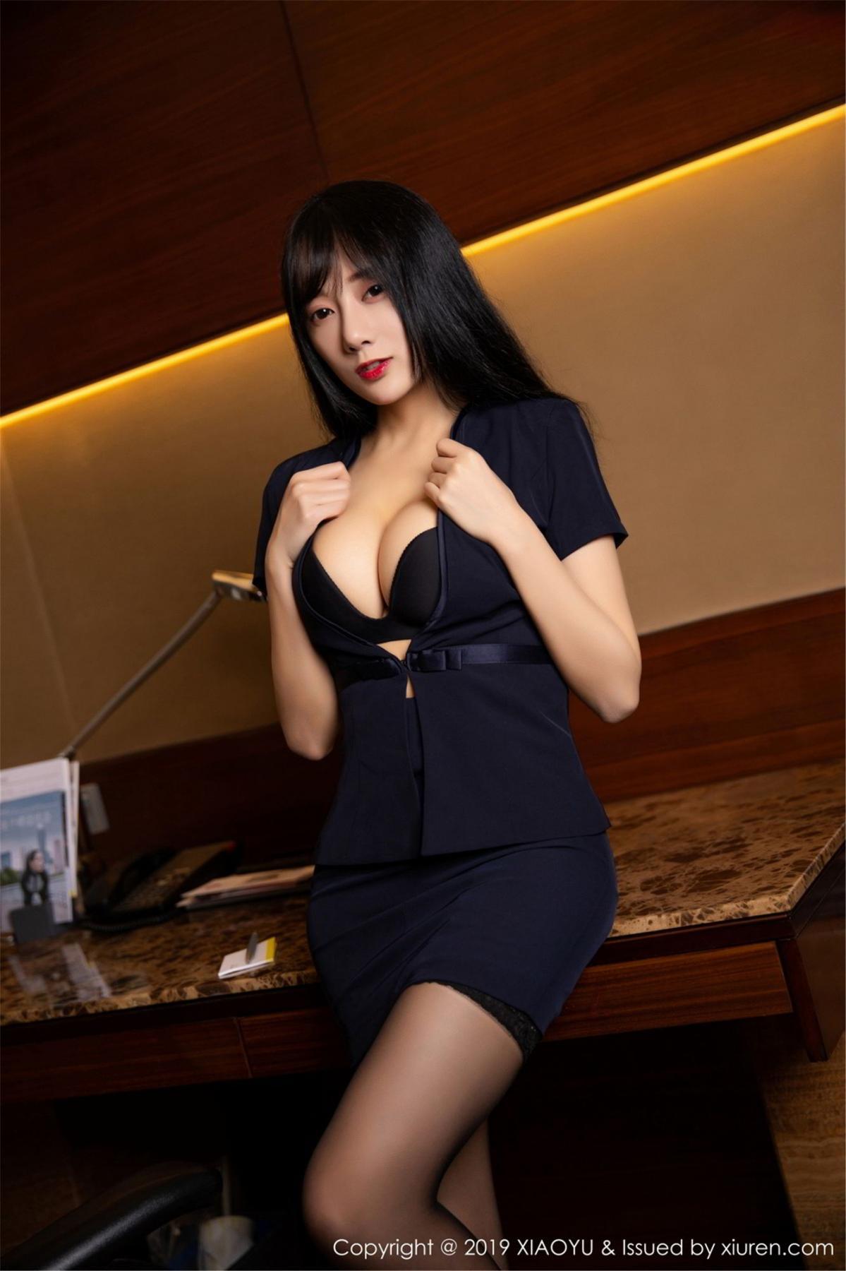[XiaoYu] Vol.068 He Jia Ying 8P, Black Silk, He Jia Ying, Uniform, XiaoYu