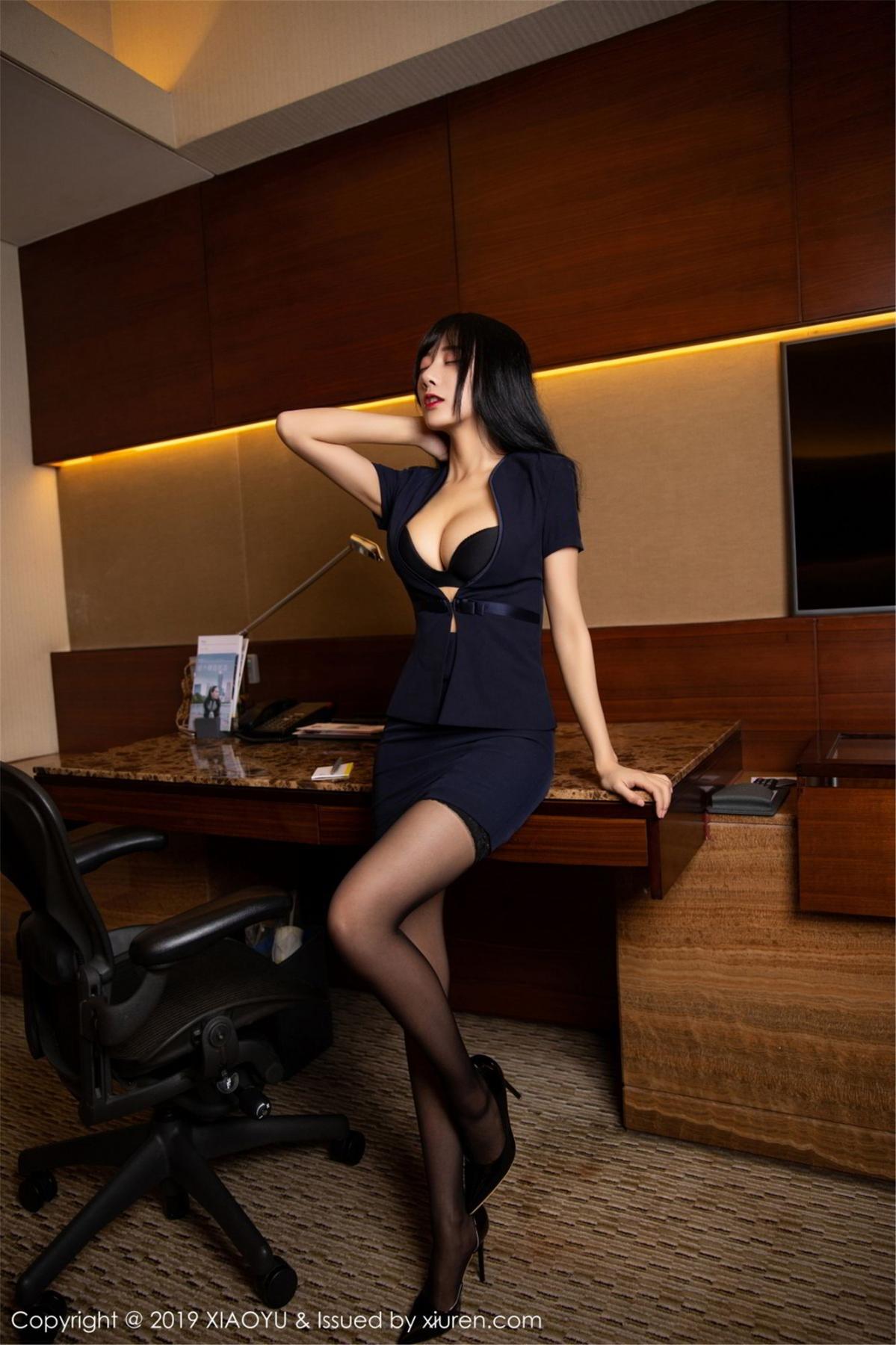 [XiaoYu] Vol.068 He Jia Ying 9P, Black Silk, He Jia Ying, Uniform, XiaoYu