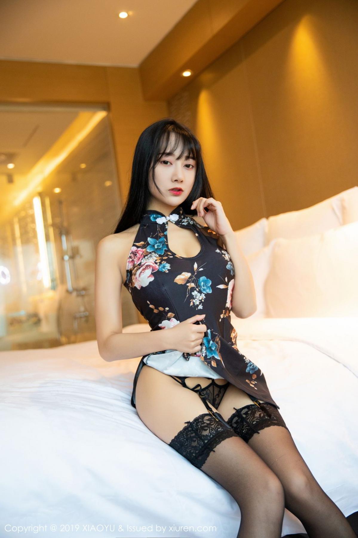 [XiaoYu] Vol.079 He Jia Ying 10P, Black Silk, Cheongsam, He Jia Ying, Tall, Temperament, XiaoYu
