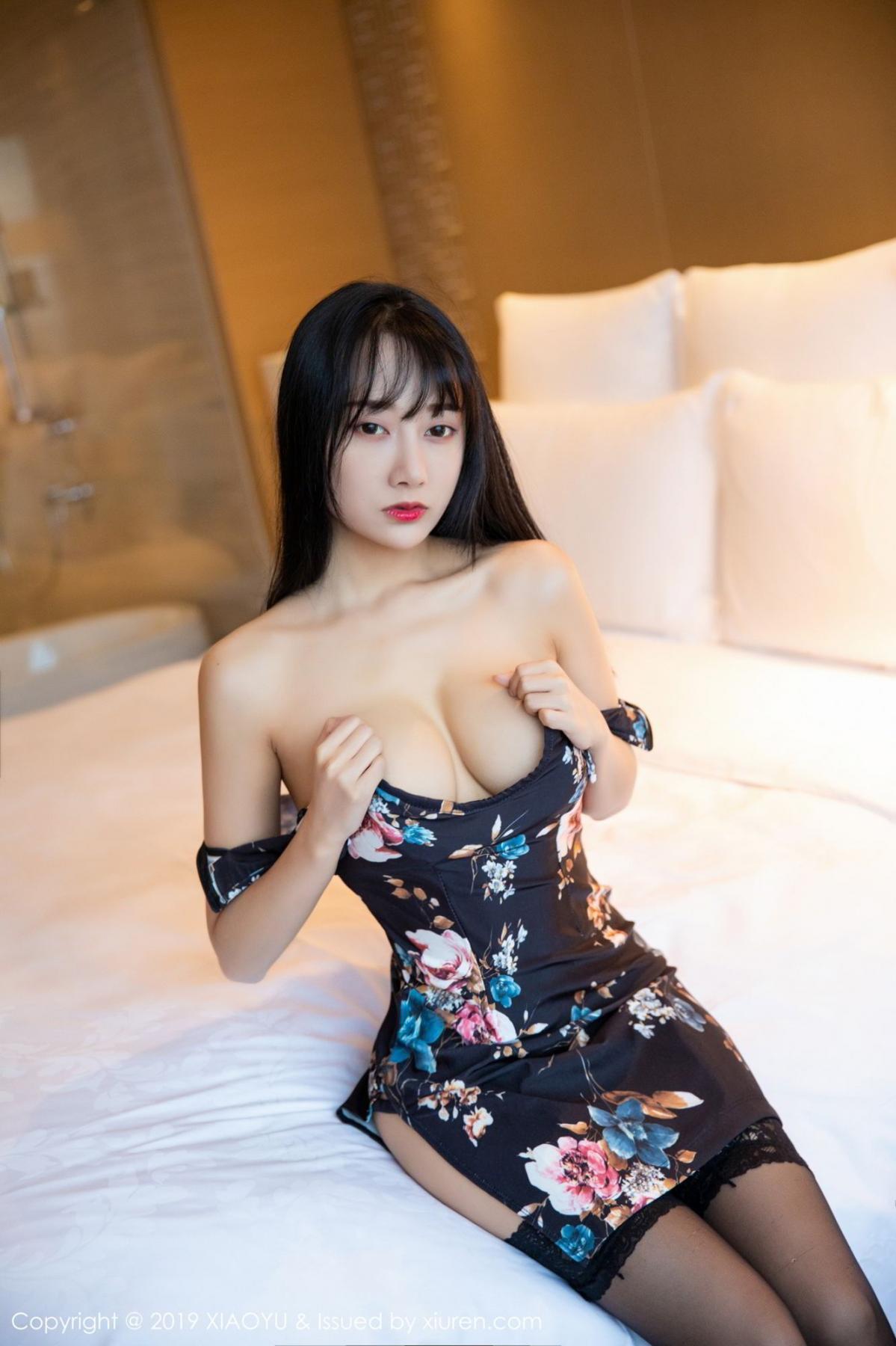 [XiaoYu] Vol.079 He Jia Ying 16P, Black Silk, Cheongsam, He Jia Ying, Tall, Temperament, XiaoYu