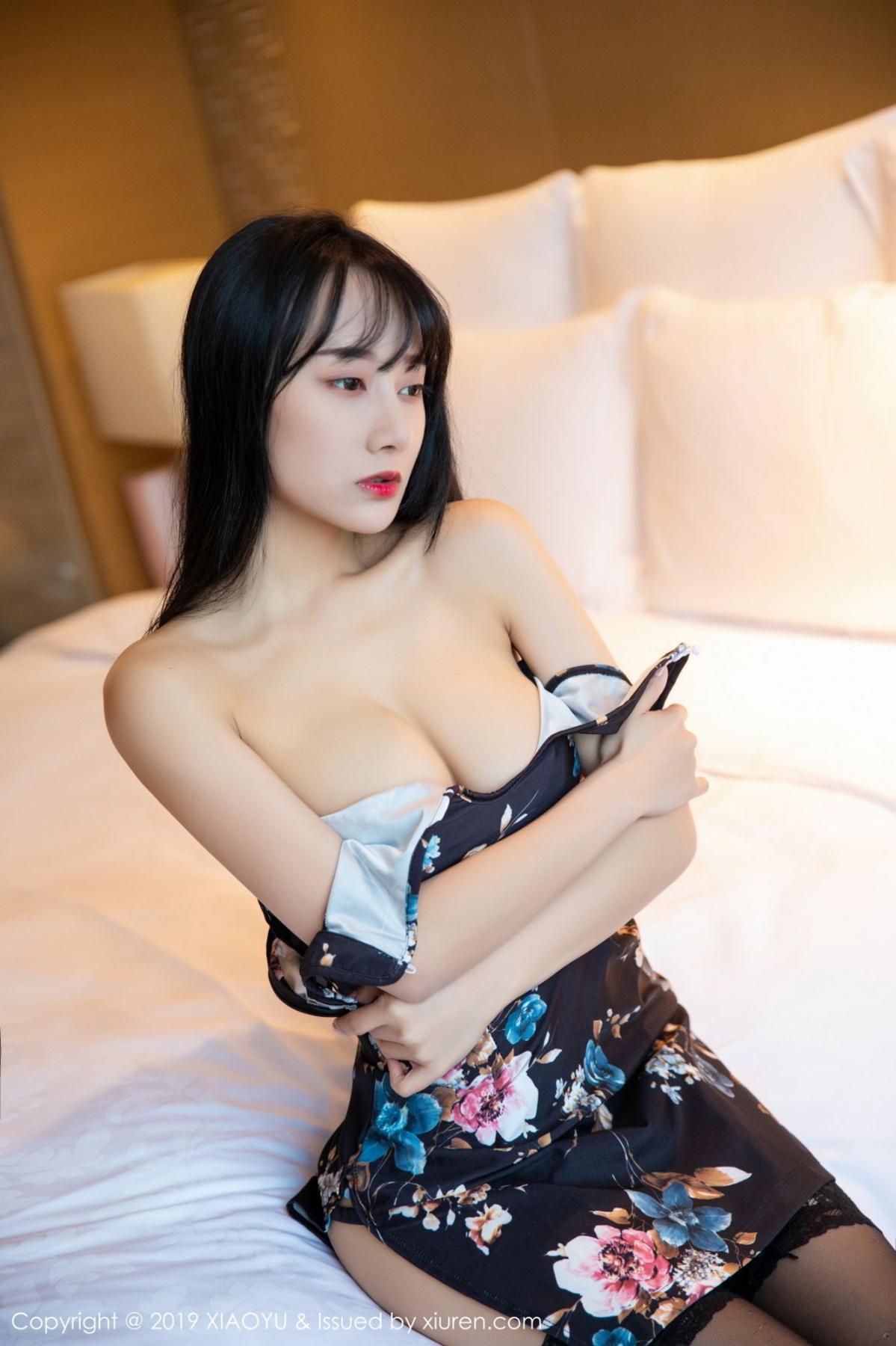 [XiaoYu] Vol.079 He Jia Ying 17P, Black Silk, Cheongsam, He Jia Ying, Tall, Temperament, XiaoYu