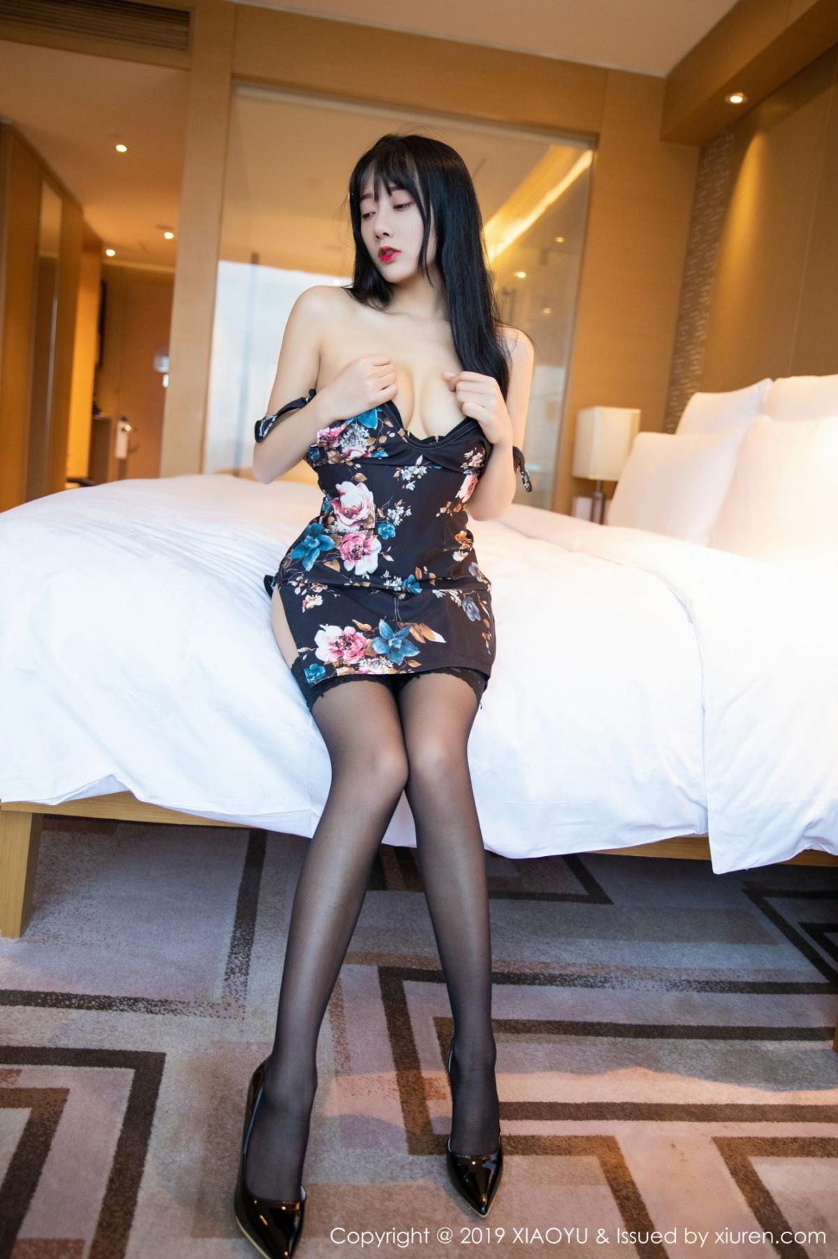[XiaoYu] Vol.079 He Jia Ying 18P, Black Silk, Cheongsam, He Jia Ying, Tall, Temperament, XiaoYu