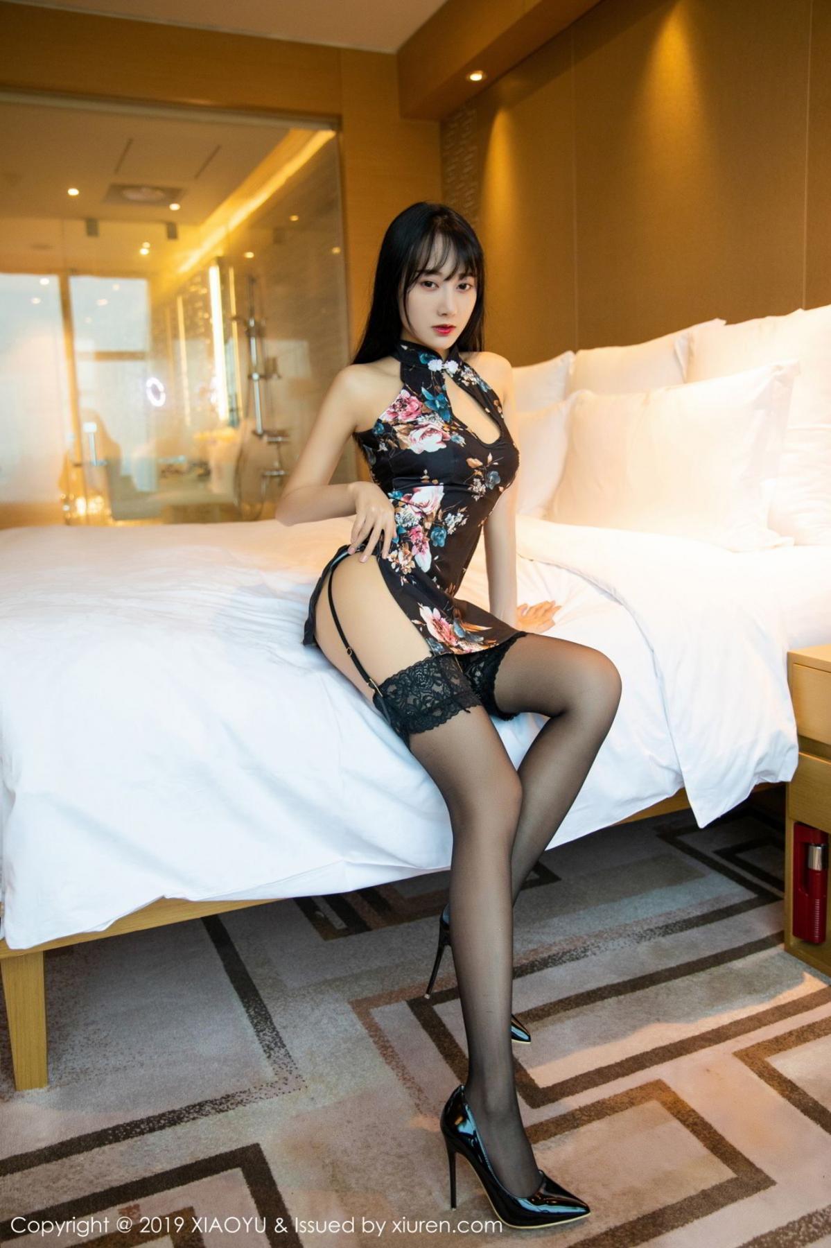 [XiaoYu] Vol.079 He Jia Ying 1P, Black Silk, Cheongsam, He Jia Ying, Tall, Temperament, XiaoYu
