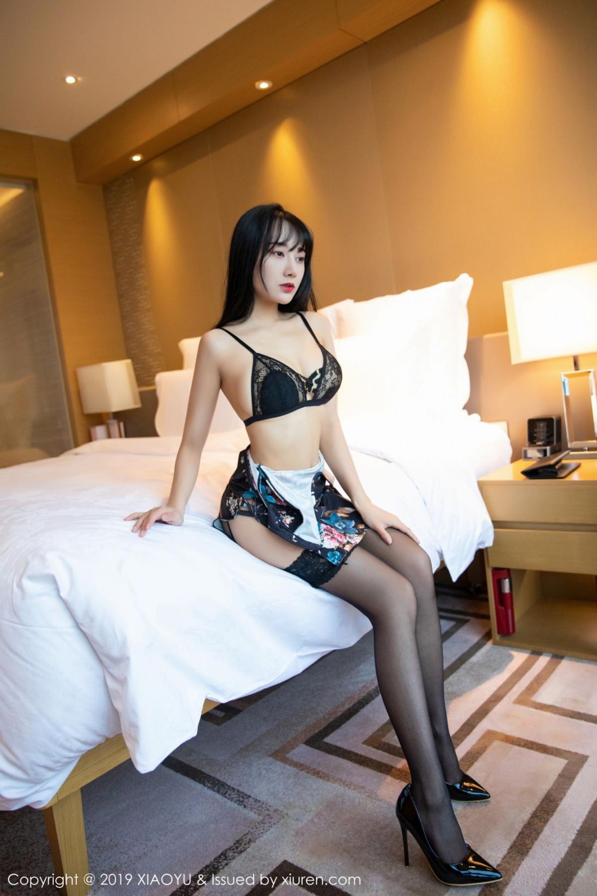 [XiaoYu] Vol.079 He Jia Ying 21P, Black Silk, Cheongsam, He Jia Ying, Tall, Temperament, XiaoYu