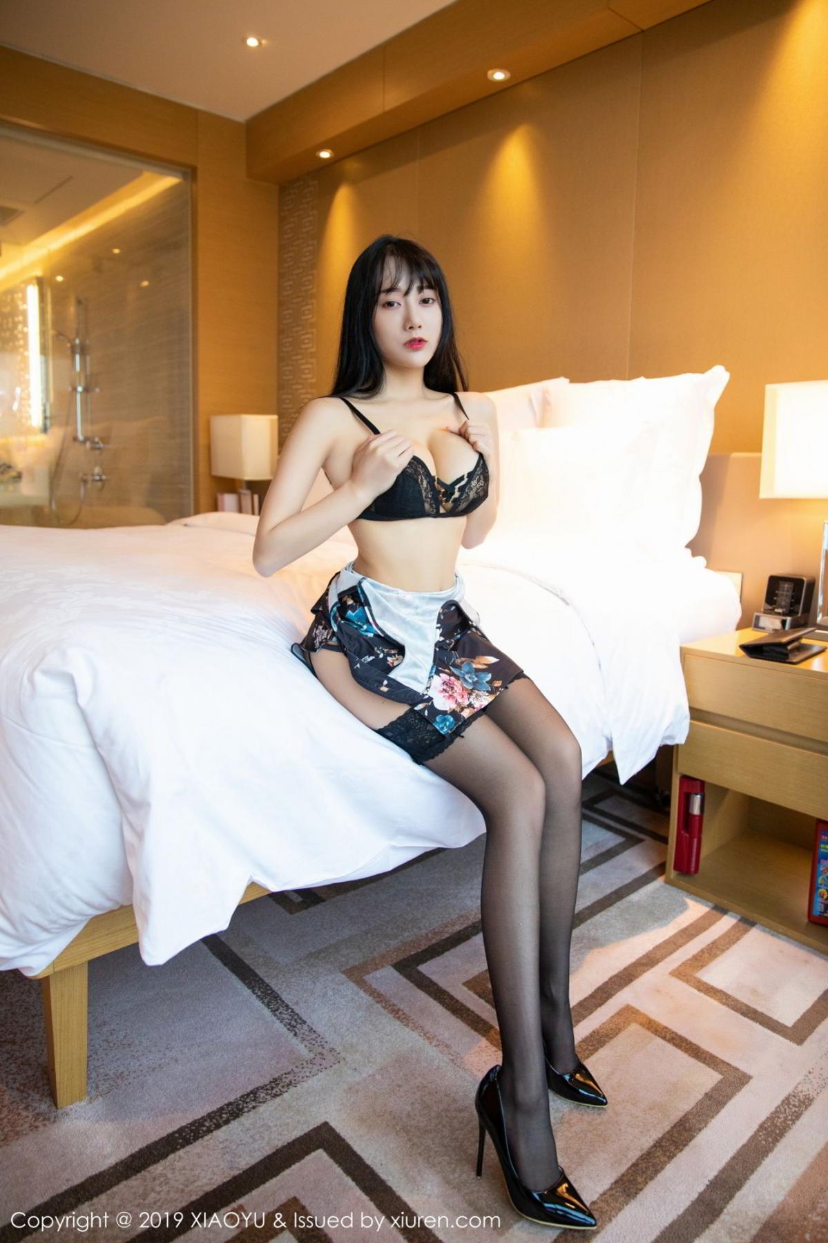 [XiaoYu] Vol.079 He Jia Ying 23P, Black Silk, Cheongsam, He Jia Ying, Tall, Temperament, XiaoYu