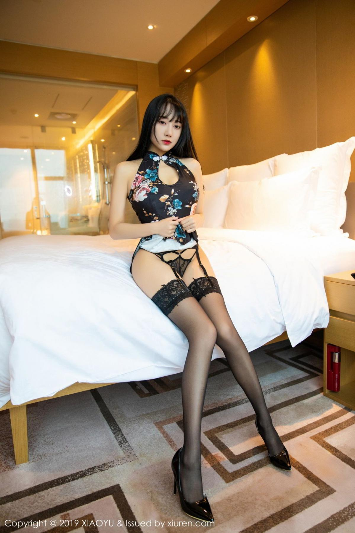 [XiaoYu] Vol.079 He Jia Ying 2P, Black Silk, Cheongsam, He Jia Ying, Tall, Temperament, XiaoYu