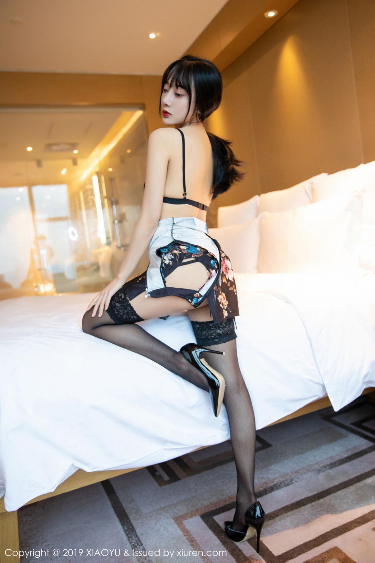 [XiaoYu] Vol.079 He Jia Ying 33P, Black Silk, Cheongsam, He Jia Ying, Tall, Temperament, XiaoYu