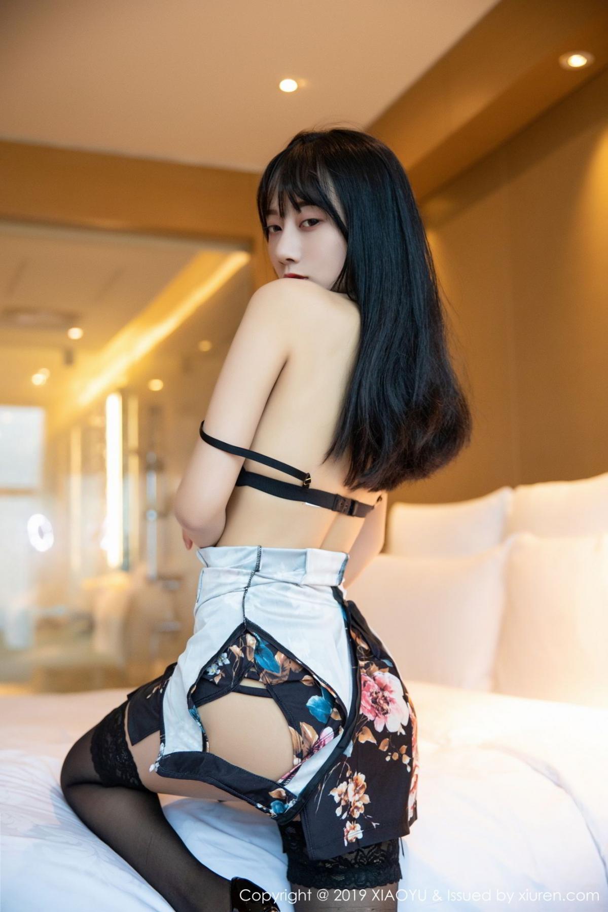 [XiaoYu] Vol.079 He Jia Ying 34P, Black Silk, Cheongsam, He Jia Ying, Tall, Temperament, XiaoYu