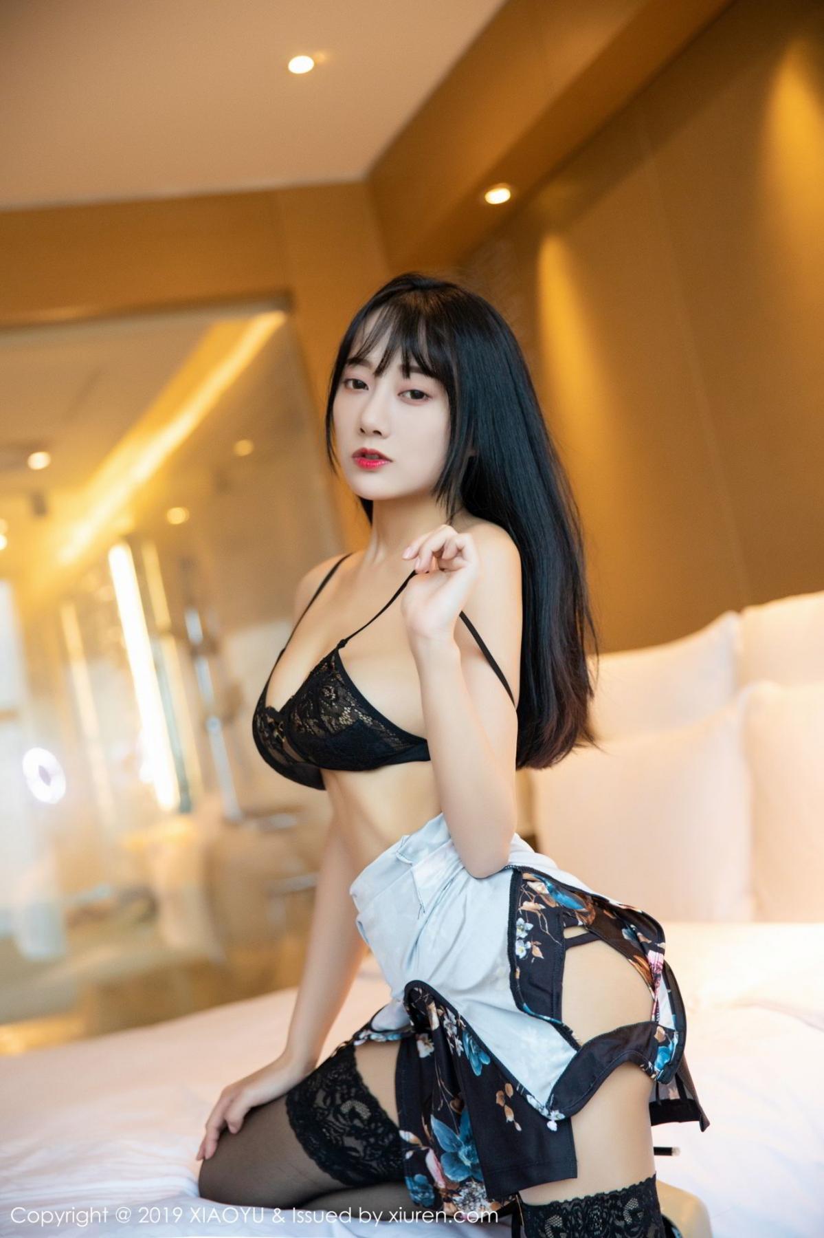 [XiaoYu] Vol.079 He Jia Ying 35P, Black Silk, Cheongsam, He Jia Ying, Tall, Temperament, XiaoYu