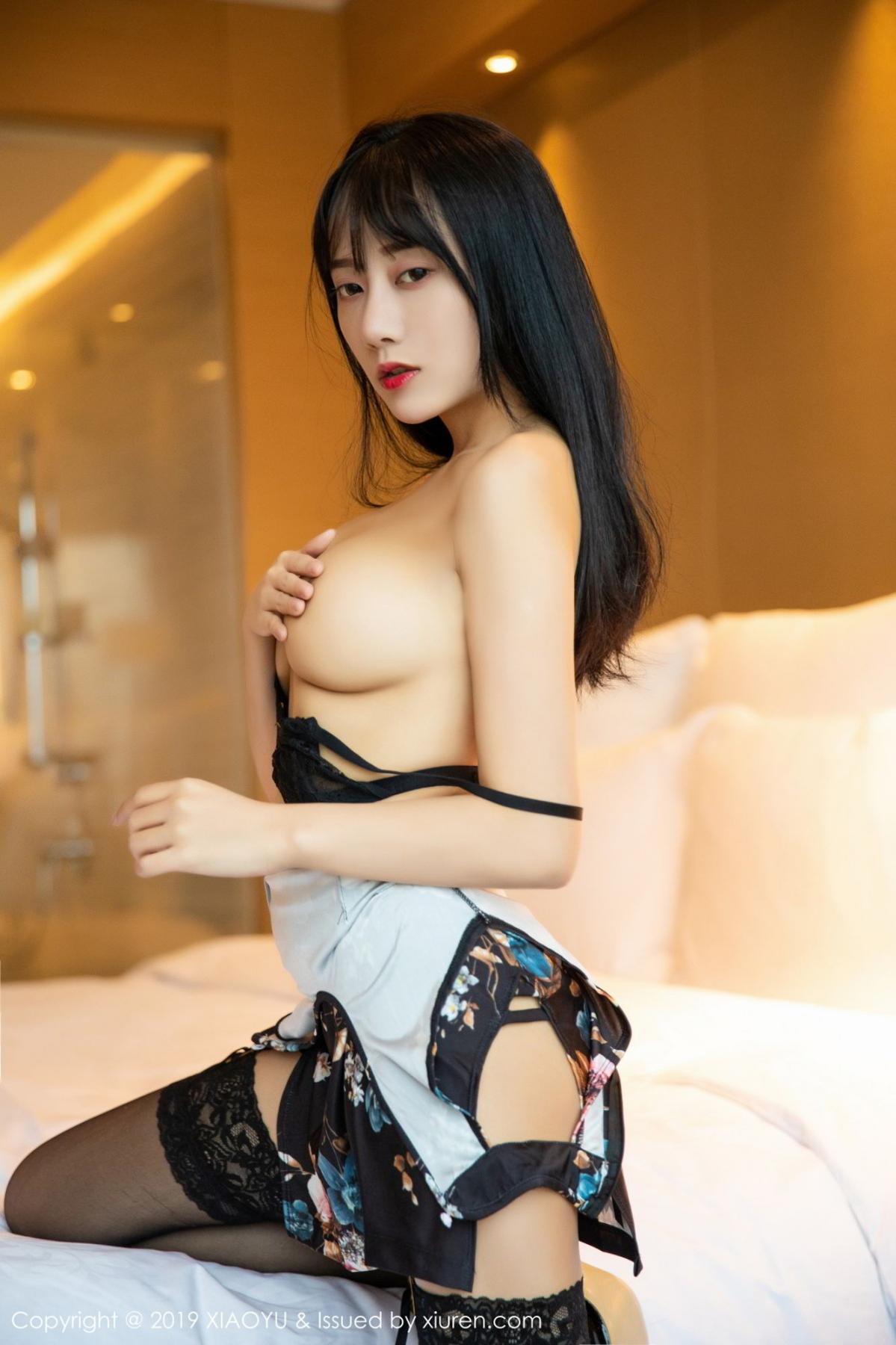 [XiaoYu] Vol.079 He Jia Ying 36P, Black Silk, Cheongsam, He Jia Ying, Tall, Temperament, XiaoYu