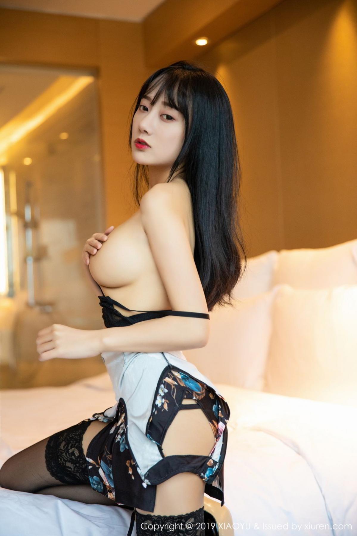 [XiaoYu] Vol.079 He Jia Ying 37P, Black Silk, Cheongsam, He Jia Ying, Tall, Temperament, XiaoYu