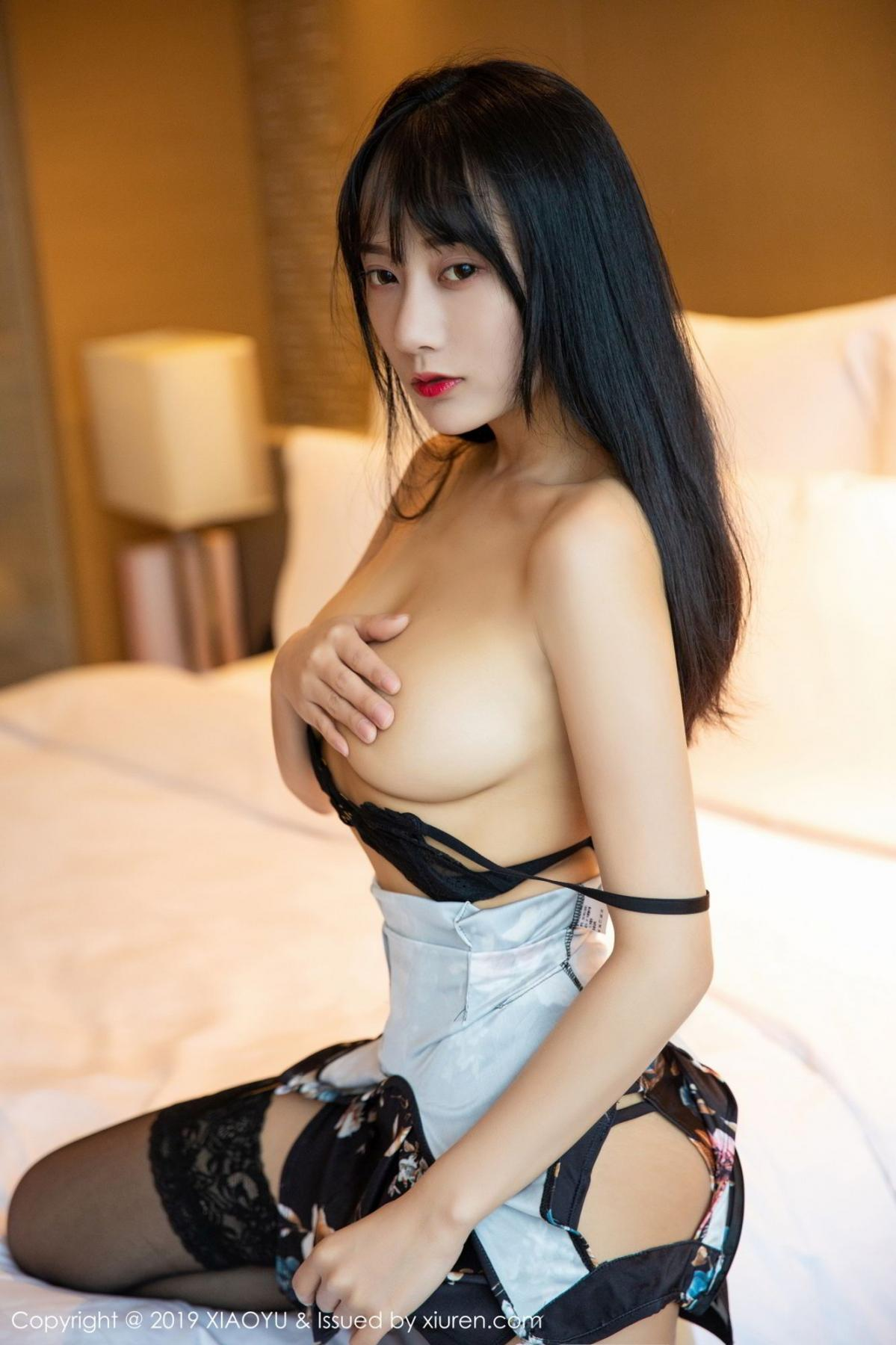 [XiaoYu] Vol.079 He Jia Ying 38P, Black Silk, Cheongsam, He Jia Ying, Tall, Temperament, XiaoYu