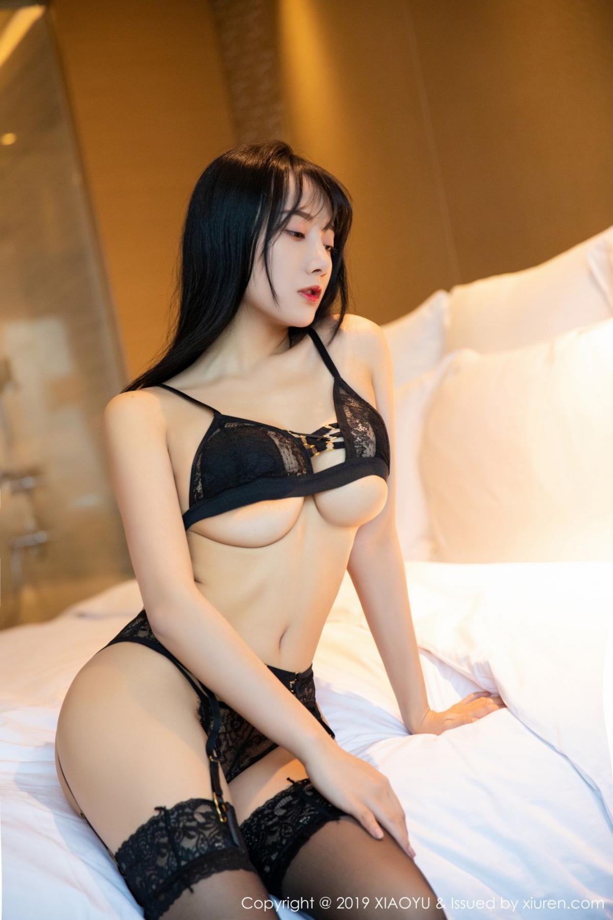 [XiaoYu] Vol.079 He Jia Ying 47P, Black Silk, Cheongsam, He Jia Ying, Tall, Temperament, XiaoYu
