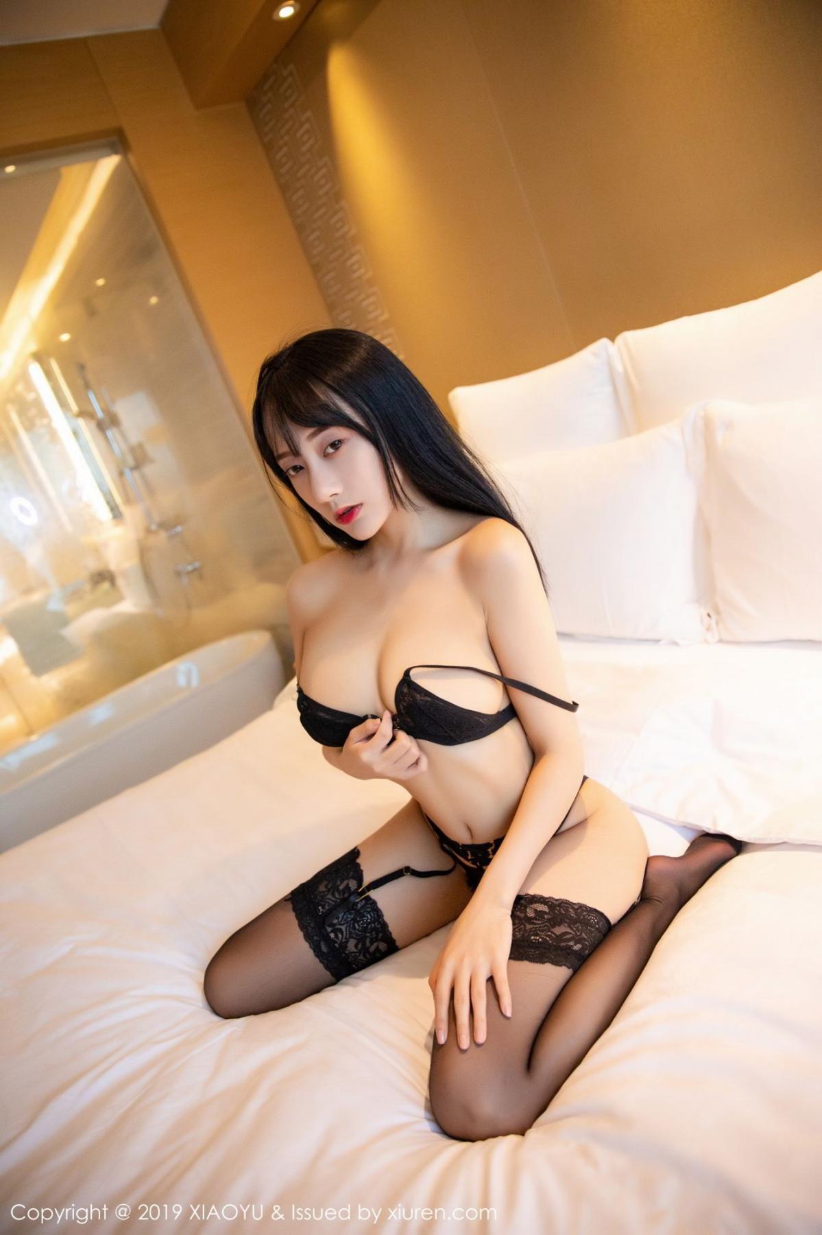 [XiaoYu] Vol.079 He Jia Ying 51P, Black Silk, Cheongsam, He Jia Ying, Tall, Temperament, XiaoYu