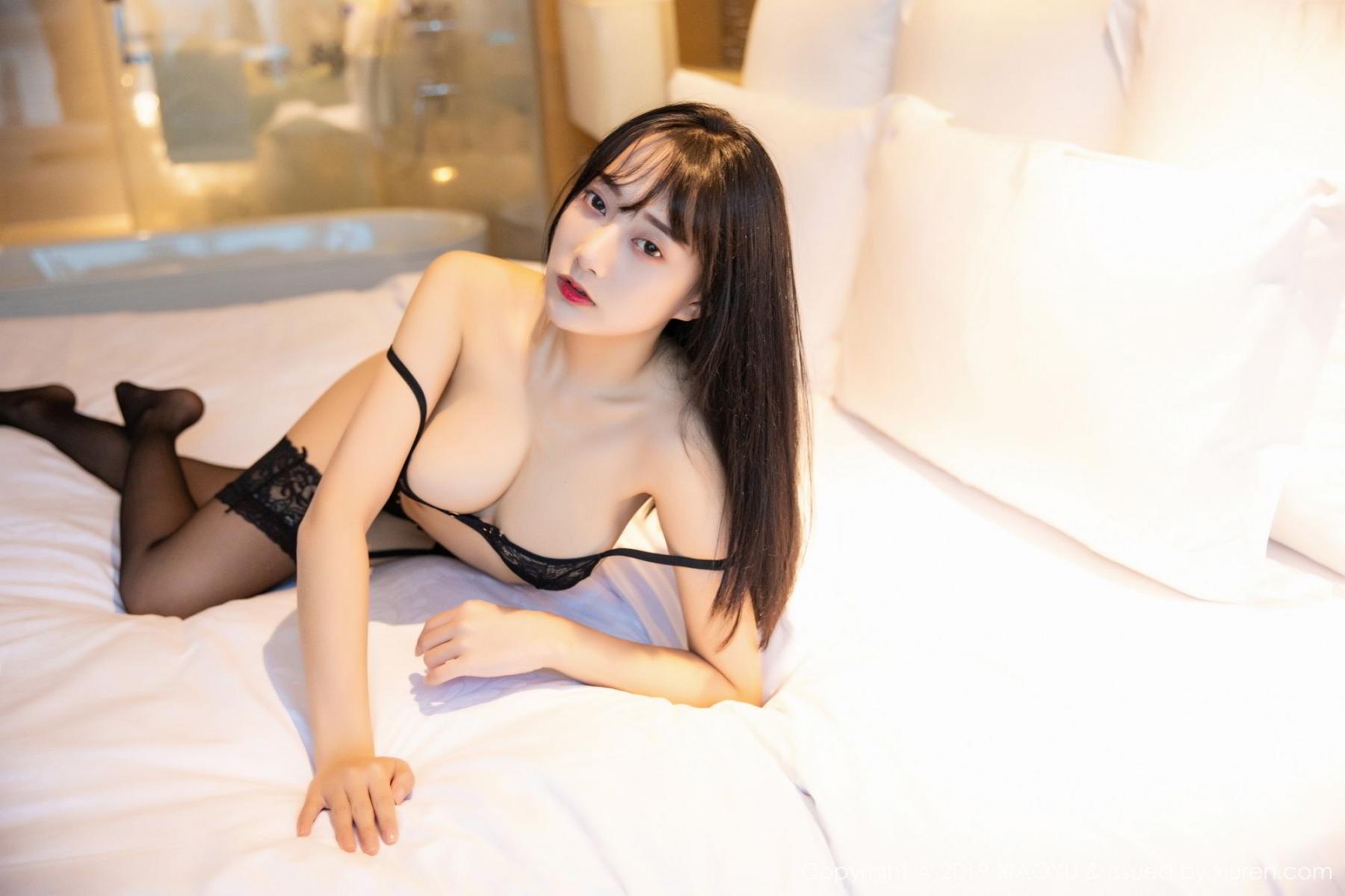 [XiaoYu] Vol.079 He Jia Ying 54P, Black Silk, Cheongsam, He Jia Ying, Tall, Temperament, XiaoYu