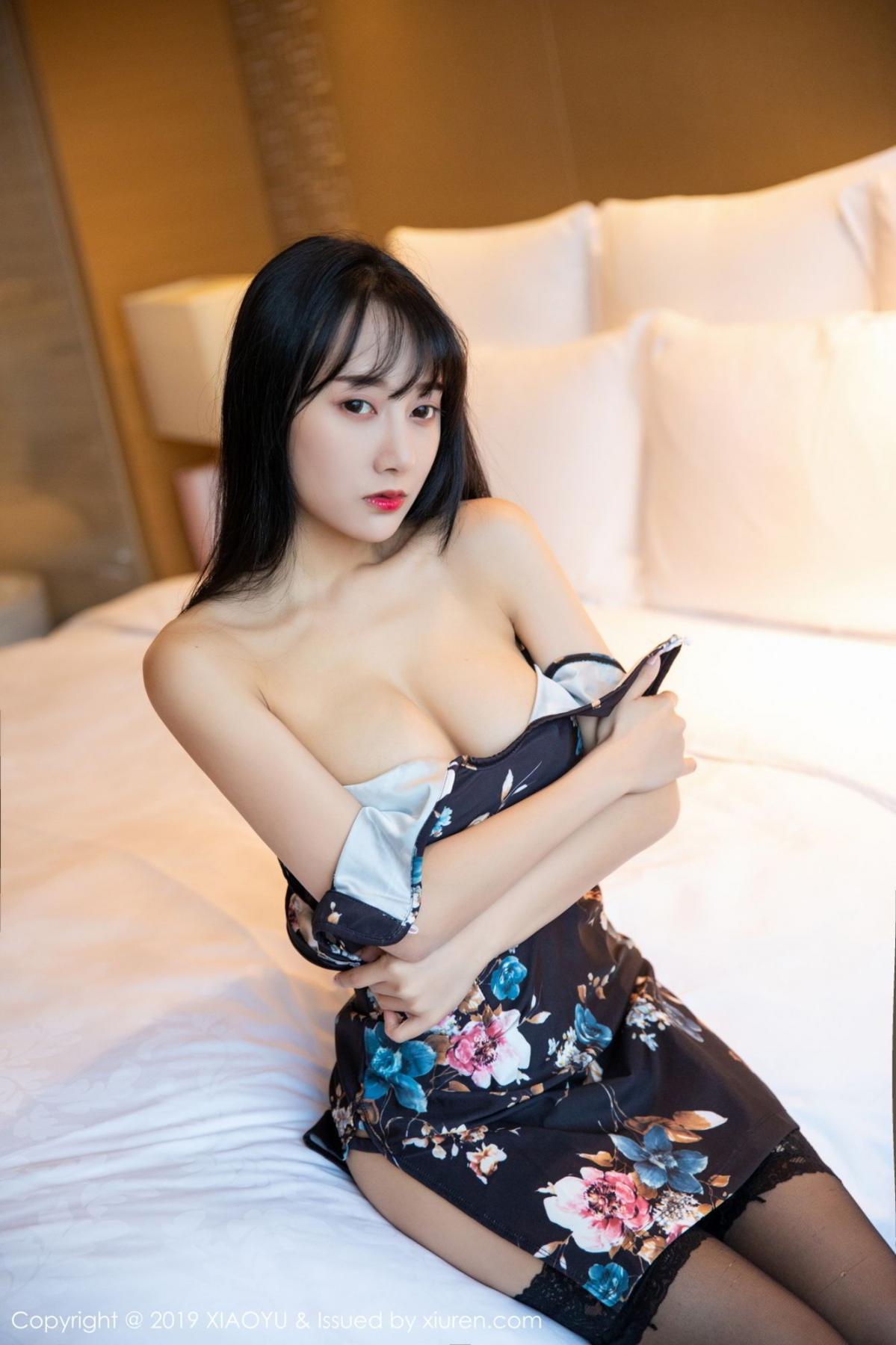 [XiaoYu] Vol.079 He Jia Ying 5P, Black Silk, Cheongsam, He Jia Ying, Tall, Temperament, XiaoYu