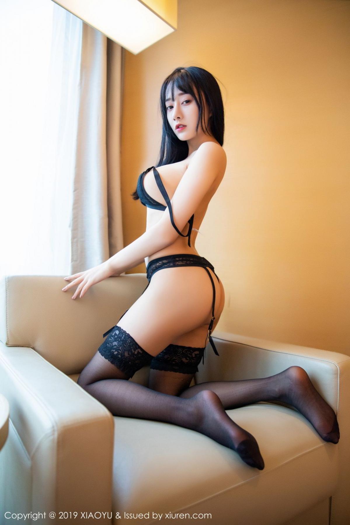 [XiaoYu] Vol.079 He Jia Ying 61P, Black Silk, Cheongsam, He Jia Ying, Tall, Temperament, XiaoYu