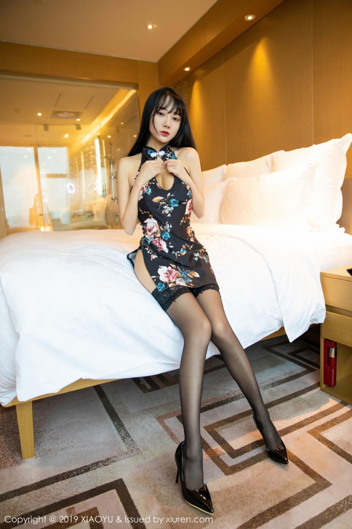 [XiaoYu] Vol.079 He Jia Ying 9P, Black Silk, Cheongsam, He Jia Ying, Tall, Temperament, XiaoYu