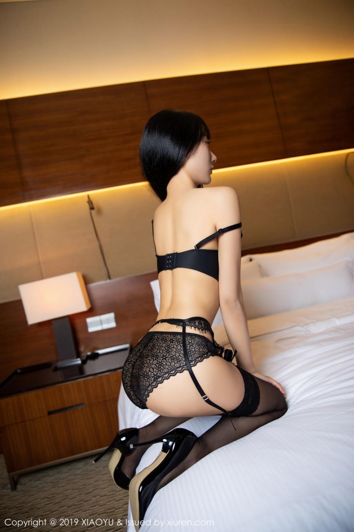 [XiaoYu] Vol.085 He Jia Ying 14P, Black Silk, He Jia Ying, Tall, Underwear, XiaoYu