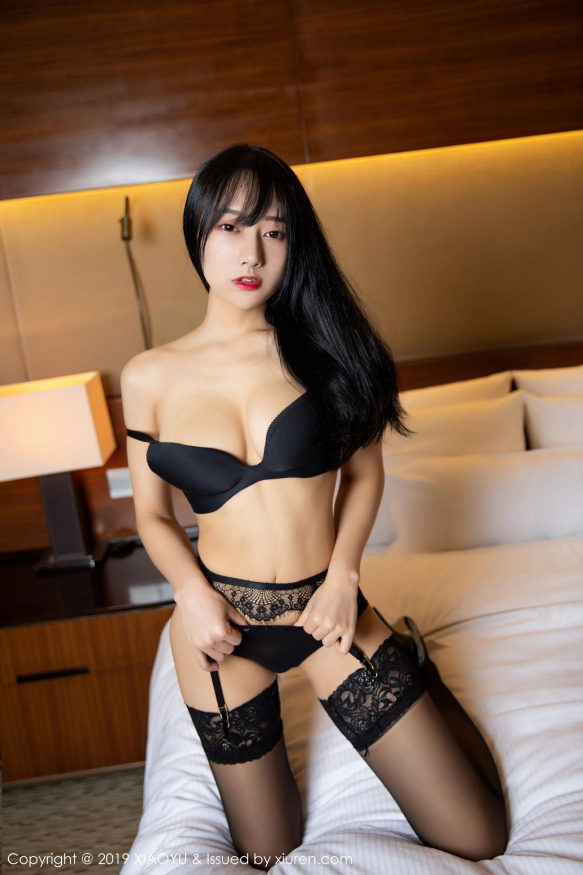 [XiaoYu] Vol.085 He Jia Ying 16P, Black Silk, He Jia Ying, Tall, Underwear, XiaoYu