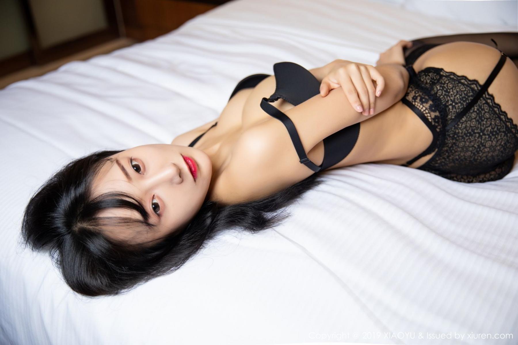 [XiaoYu] Vol.085 He Jia Ying 23P, Black Silk, He Jia Ying, Tall, Underwear, XiaoYu