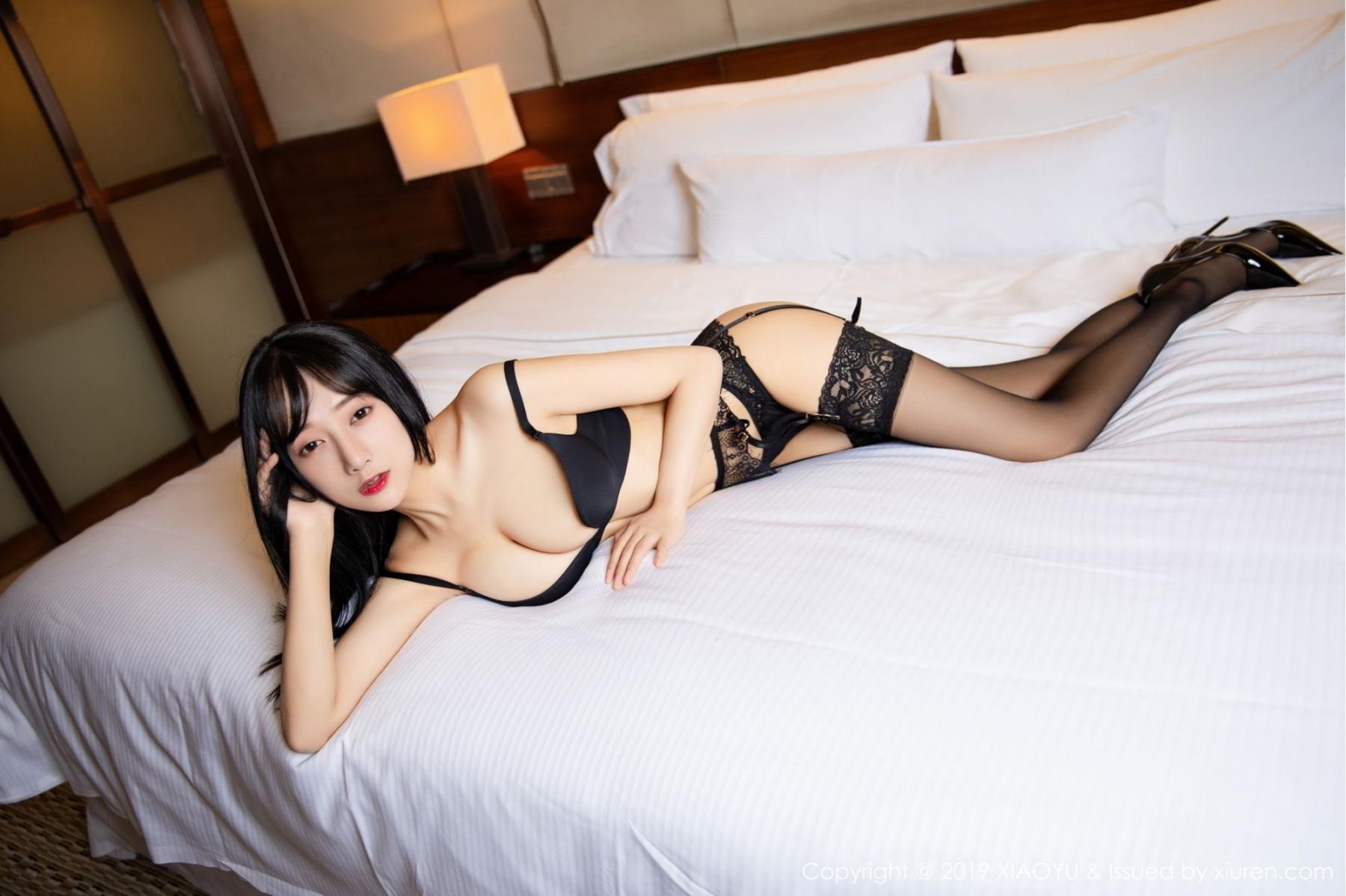 [XiaoYu] Vol.085 He Jia Ying 24P, Black Silk, He Jia Ying, Tall, Underwear, XiaoYu